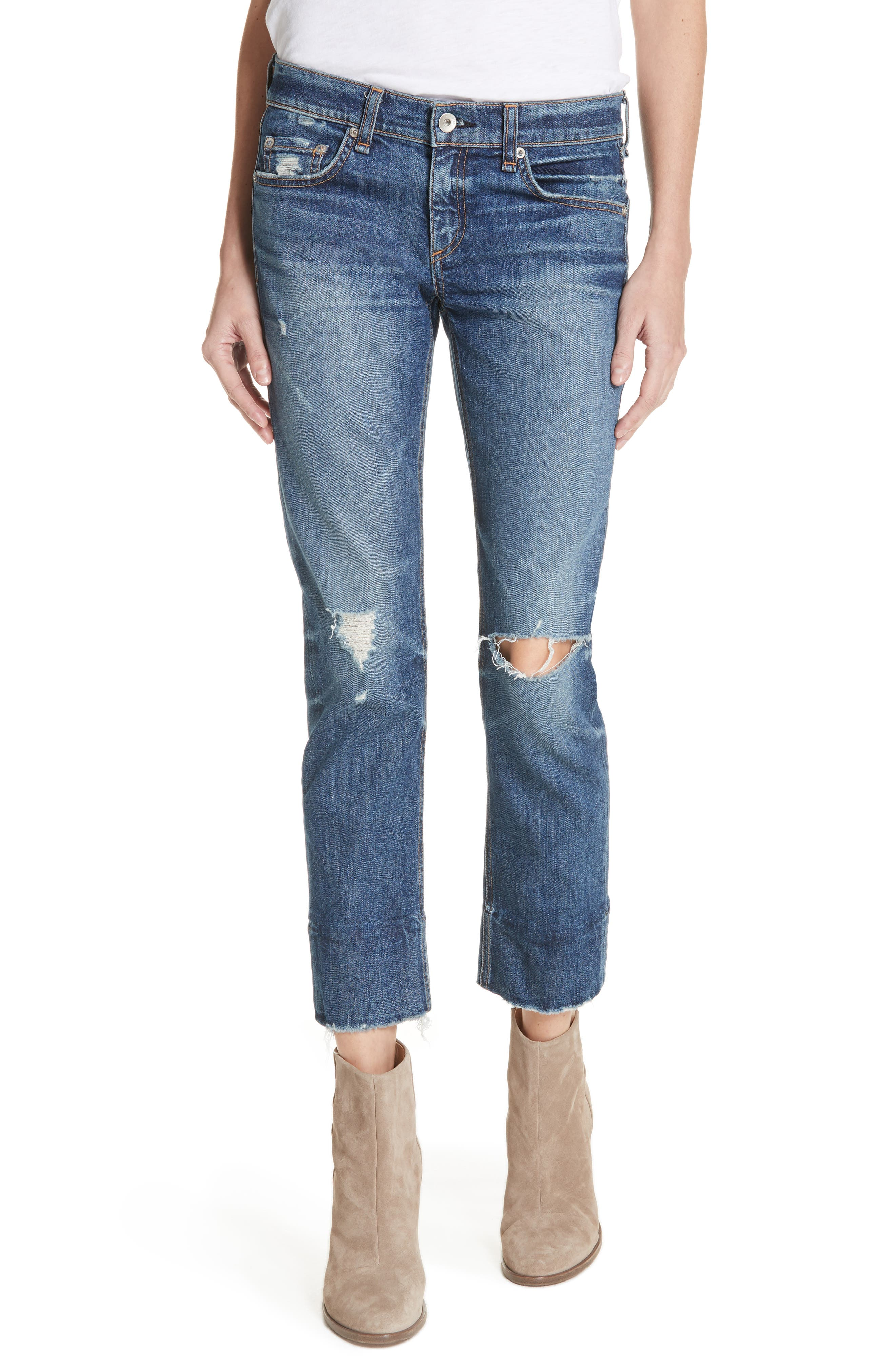 Alternate Image 1 Selected - rag & bone/JEAN Dre Ankle Slim Boyfriend Jeans (Deville)