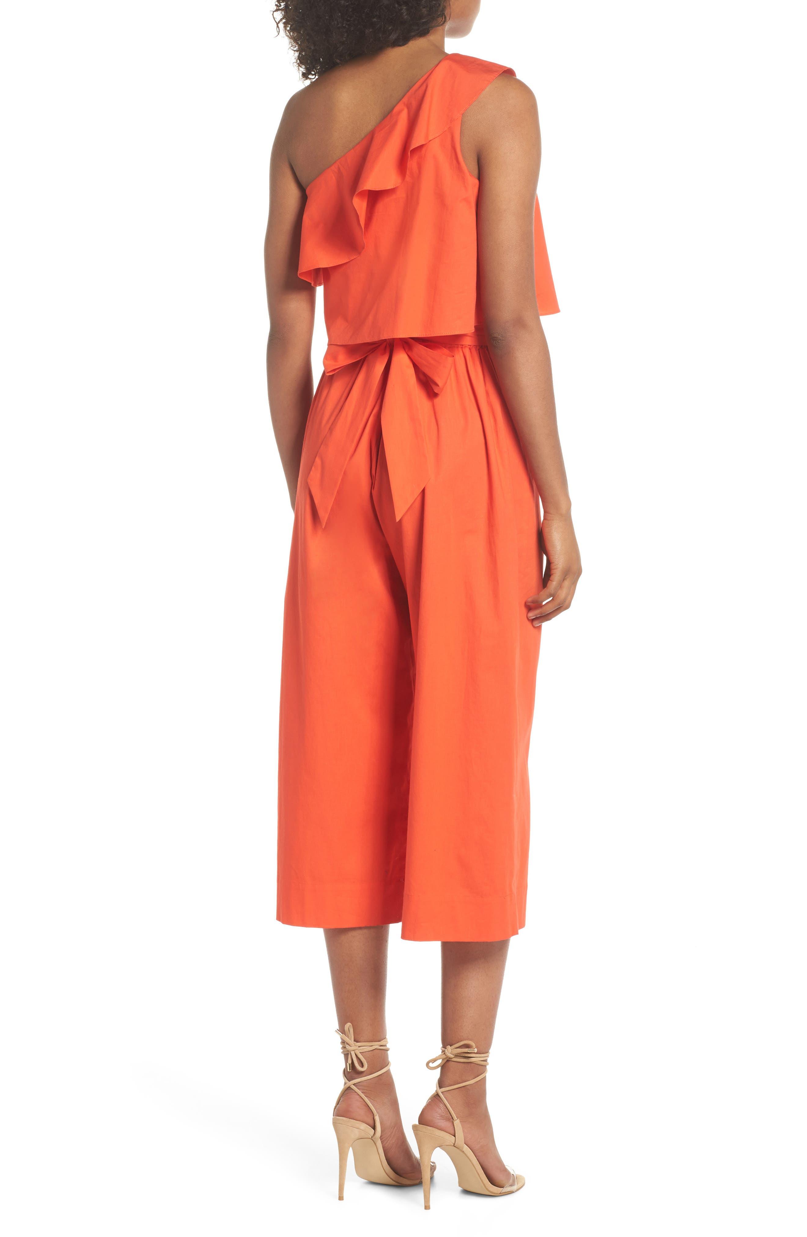 Ruffle One-Shoulder Crop Jumpsuit,                             Alternate thumbnail 2, color,                             Blood Orange