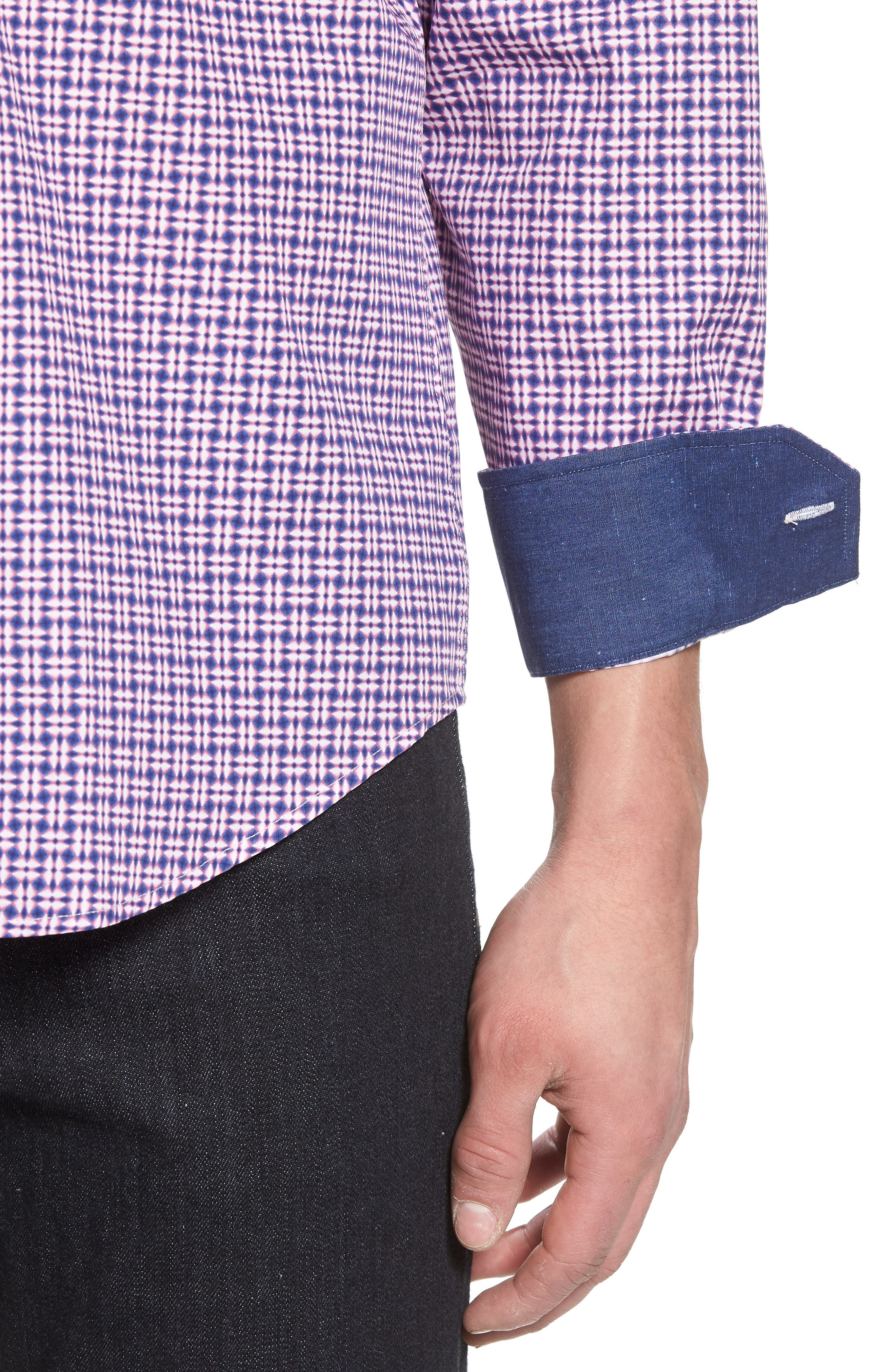Classic Fit Woven Sport Shirt,                             Alternate thumbnail 4, color,                             Pink