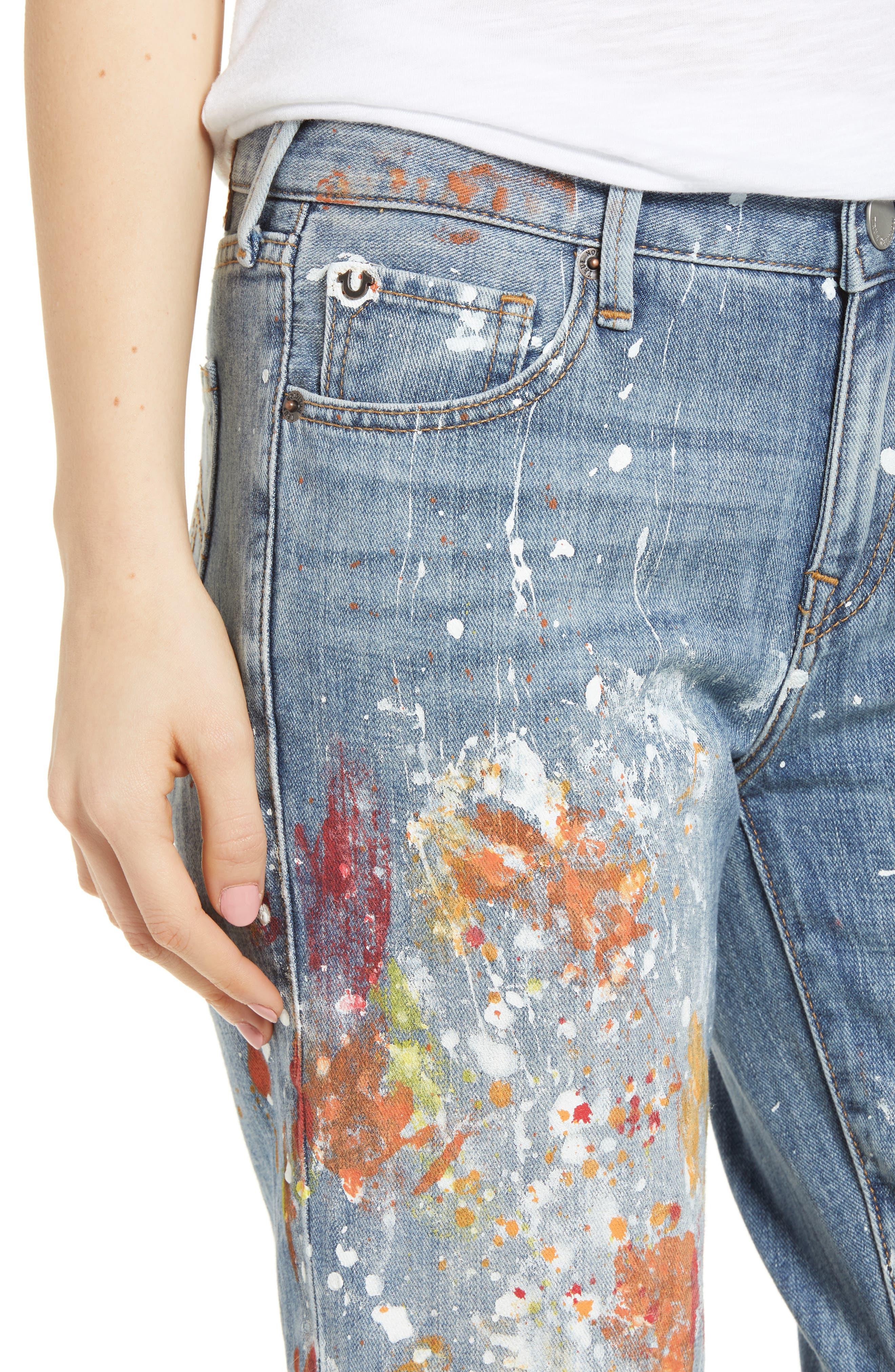 Cameron Slim Boyfriend Jeans,                             Alternate thumbnail 4, color,                             Erwm Popm Art