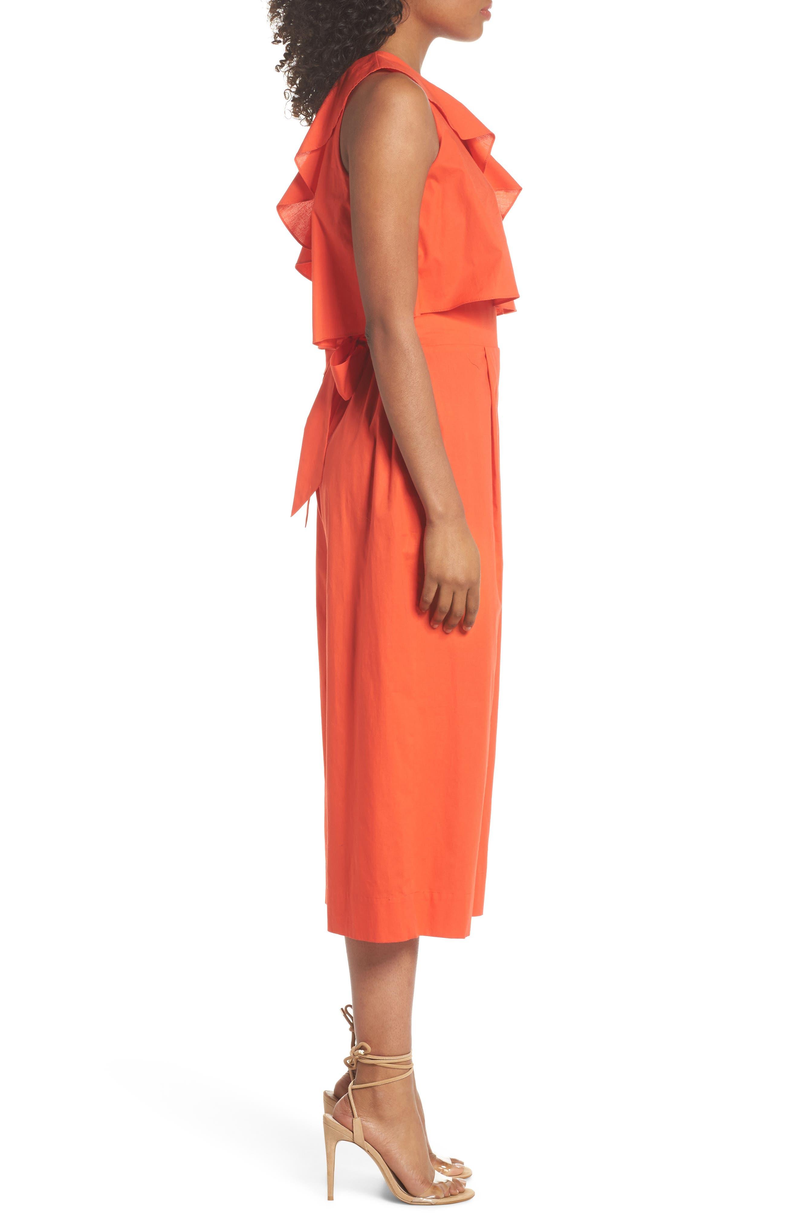 Ruffle One-Shoulder Crop Jumpsuit,                             Alternate thumbnail 3, color,                             Blood Orange