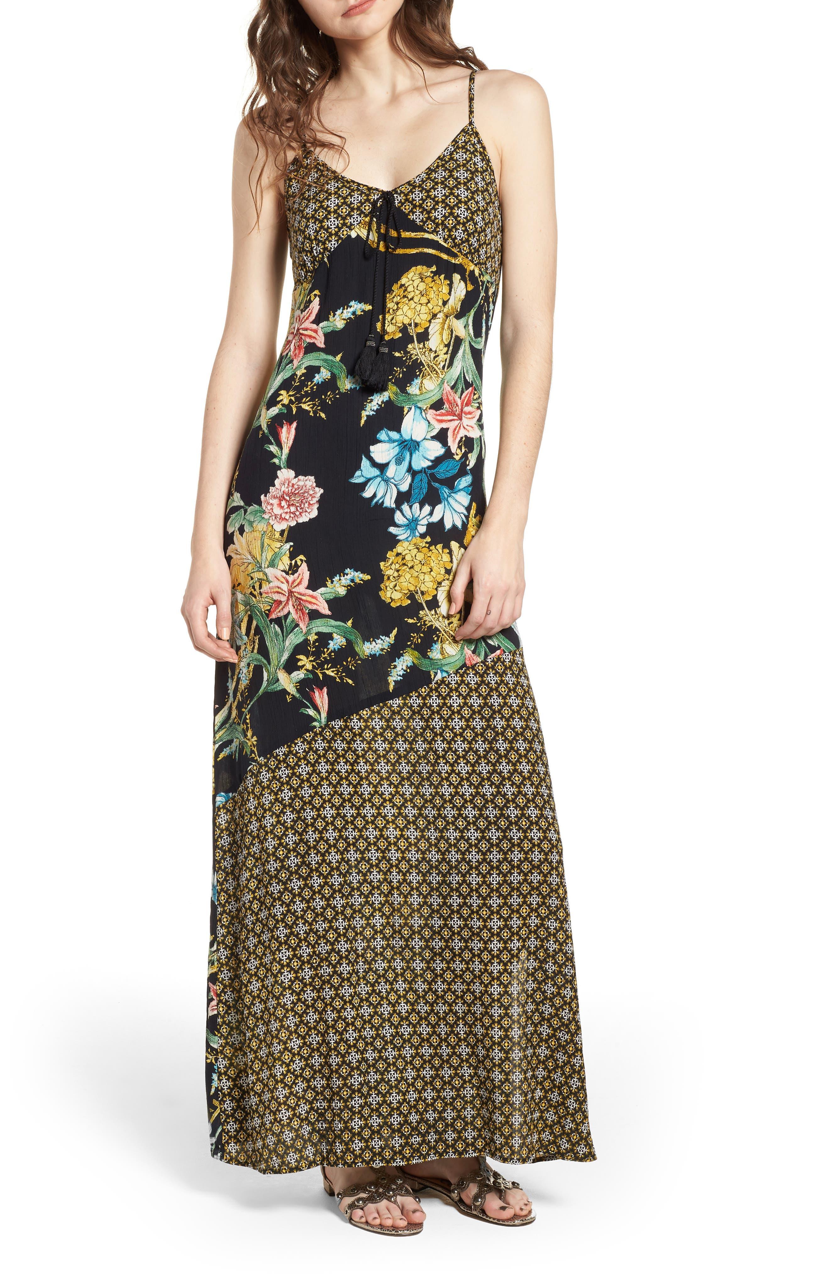 Tropical Mixed Print Maxi Dress,                             Main thumbnail 1, color,                             Black/ Yellow