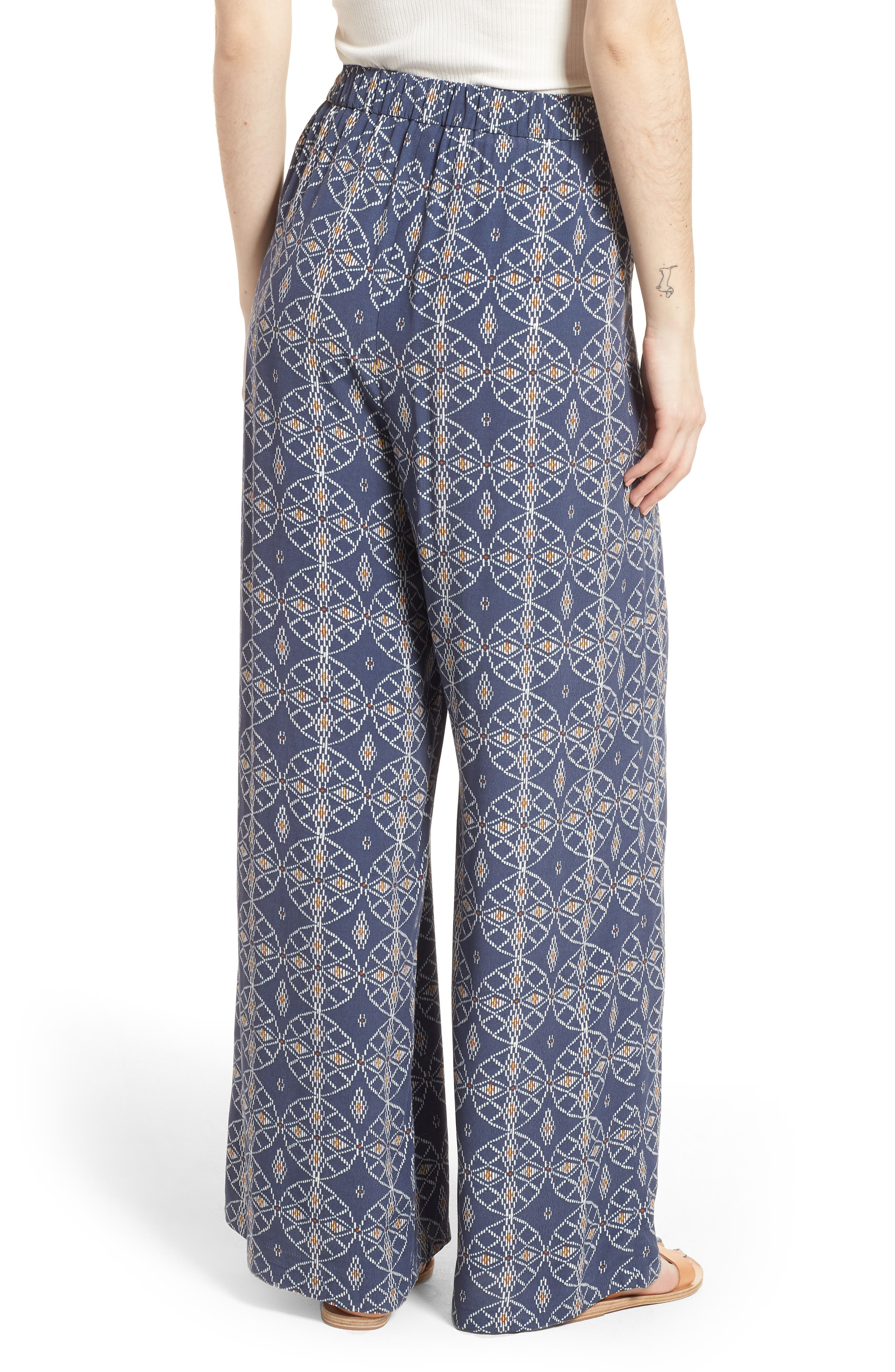 Print Wide Leg Pants,                             Alternate thumbnail 2, color,                             Blue Vintage Desert Geo