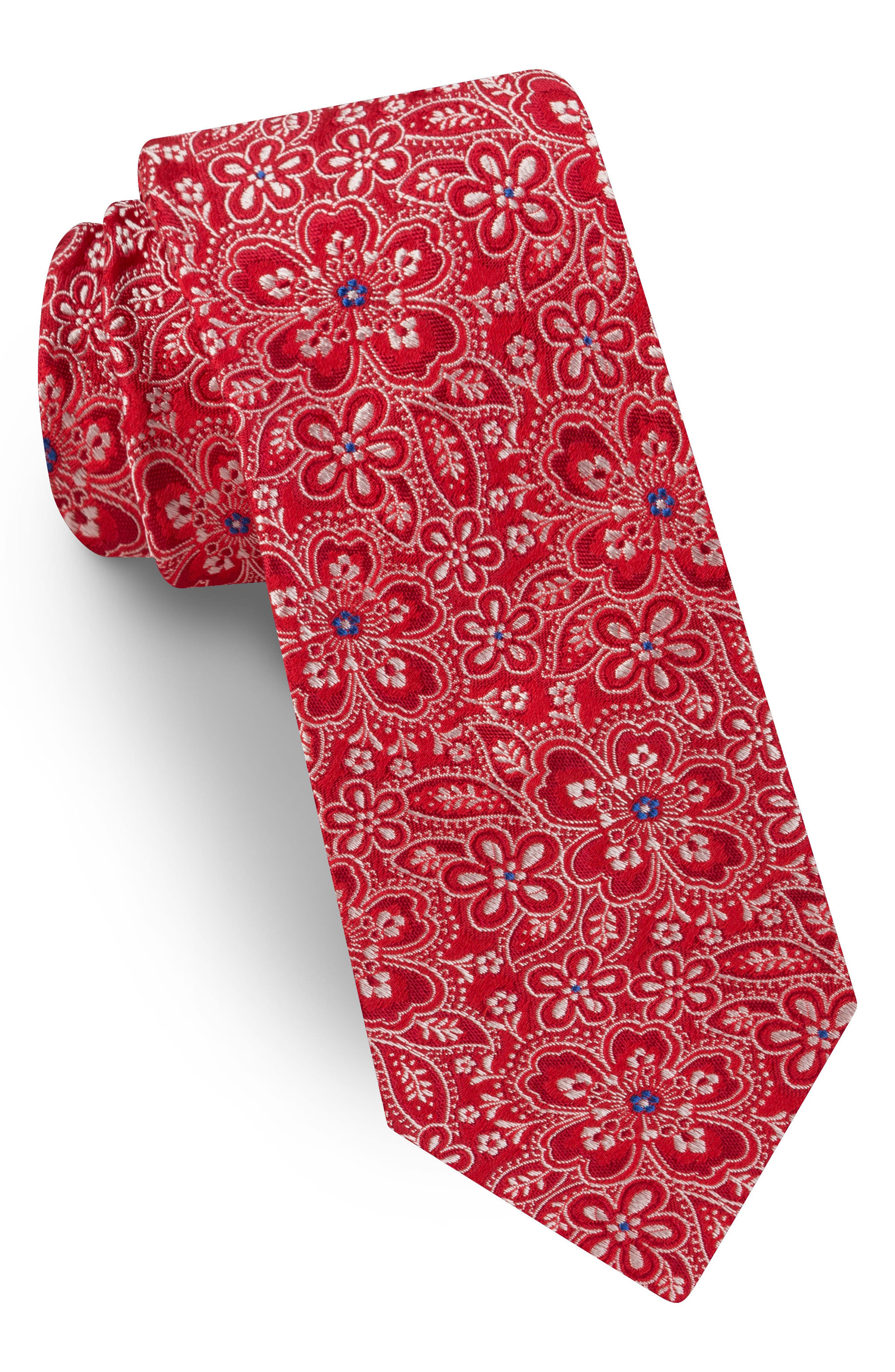 Floral Silk Tie,                             Main thumbnail 1, color,                             Red