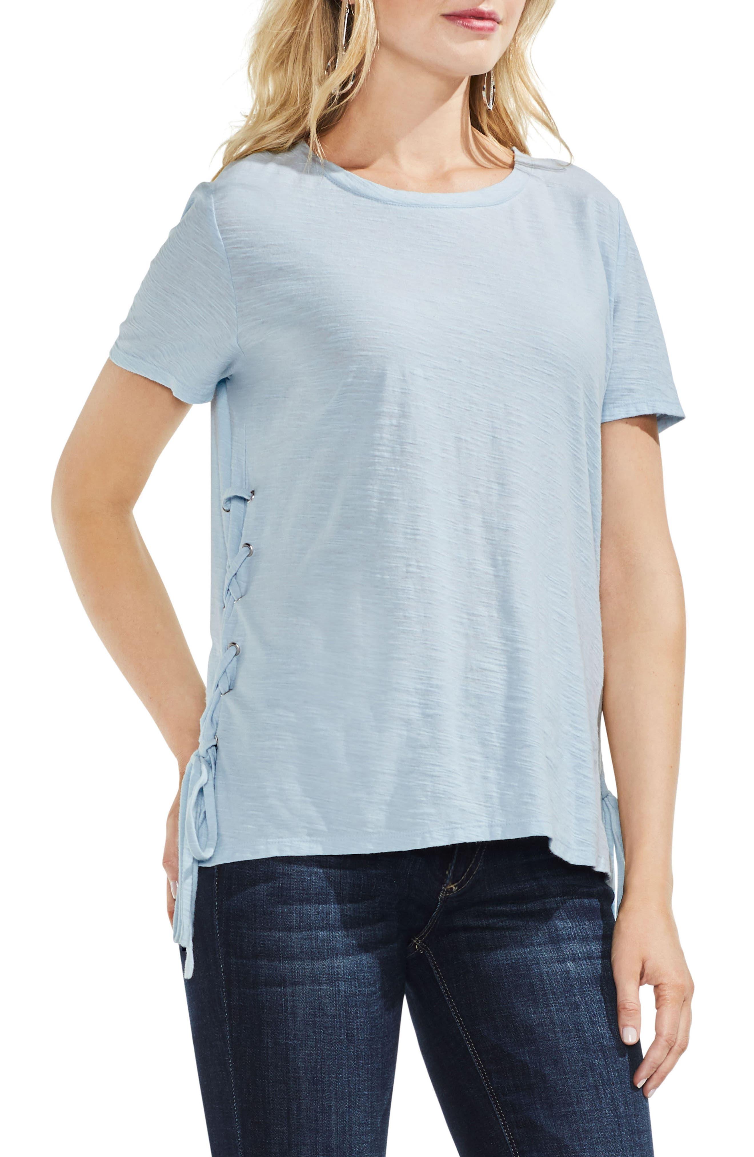 Side Lace-Up Cotton Slub Top,                         Main,                         color, Chalk Blue