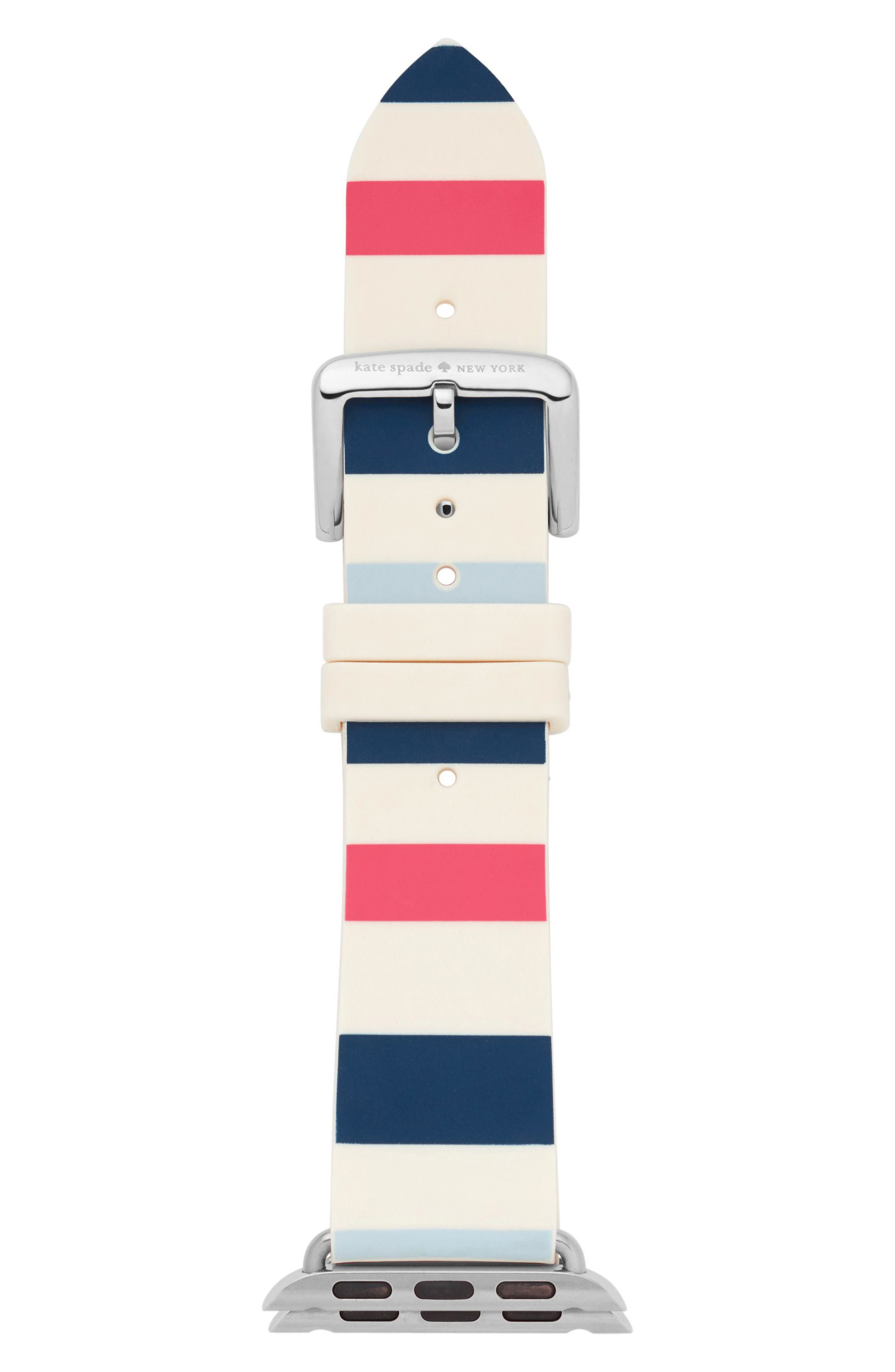 Apple Watch strap, 25mm,                             Main thumbnail 1, color,                             Blue/ White/ Pink