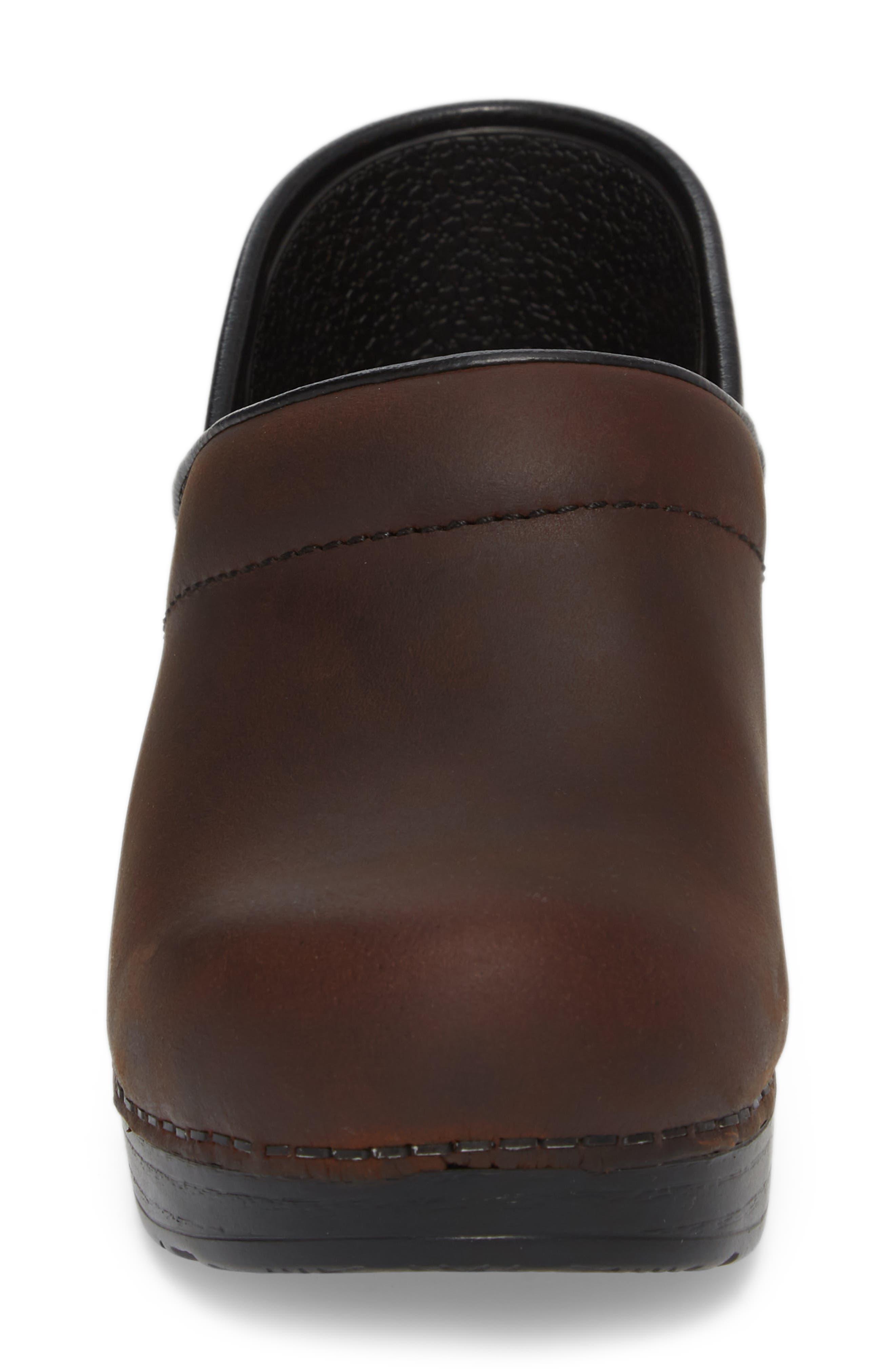 Wide Pro Clog,                             Alternate thumbnail 4, color,                             Antique Brown/ Black Leather