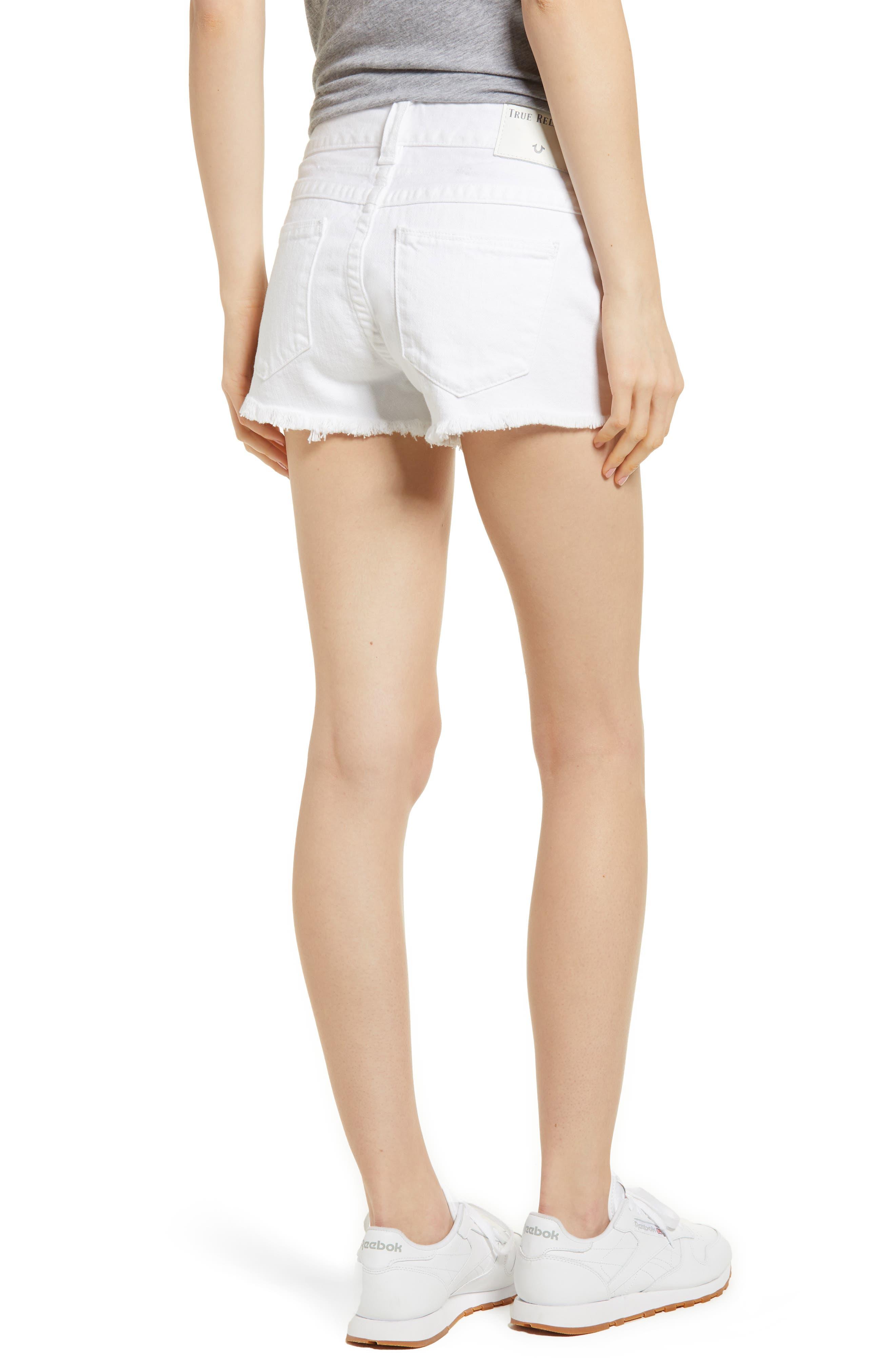 Kieras Cutoff Denim Shorts,                             Alternate thumbnail 2, color,                             Eucd Optic White