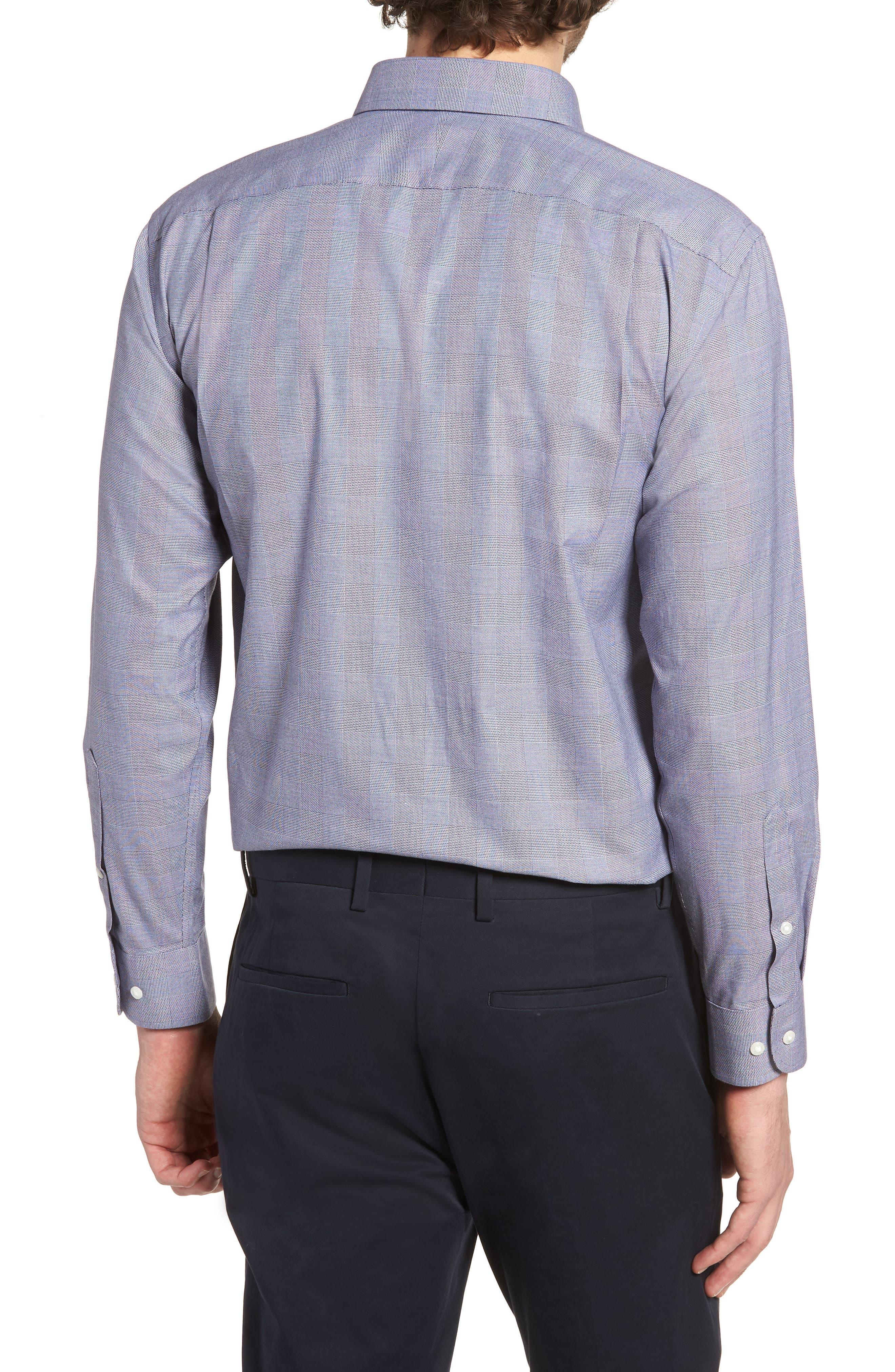 Smartcare<sup>™</sup> Trim Fit Plaid Dress Shirt,                             Alternate thumbnail 3, color,                             Grey Grisaille