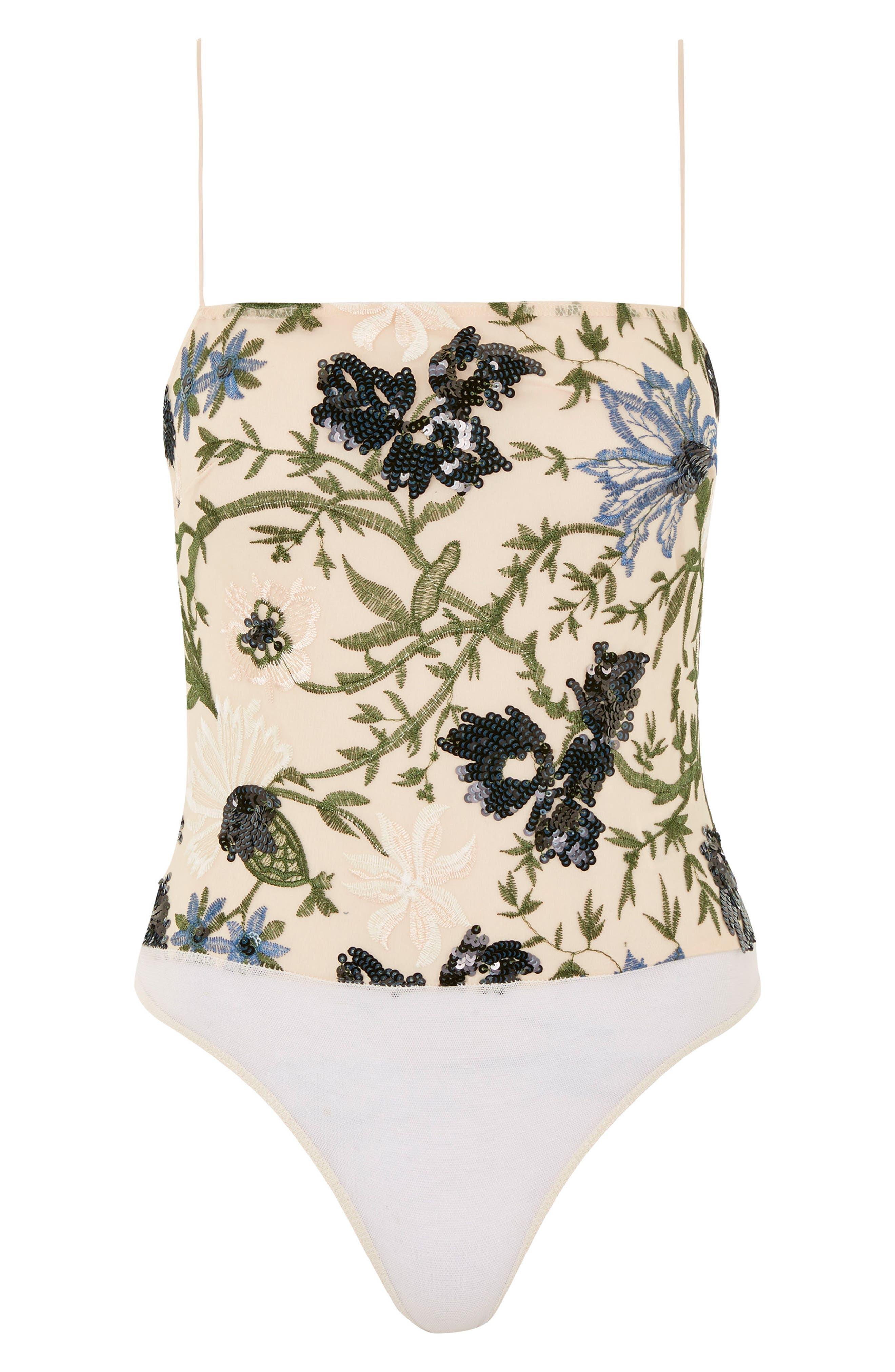 Square Neck Floral Sequin Bodysuit,                             Alternate thumbnail 2, color,                             Nude Multi