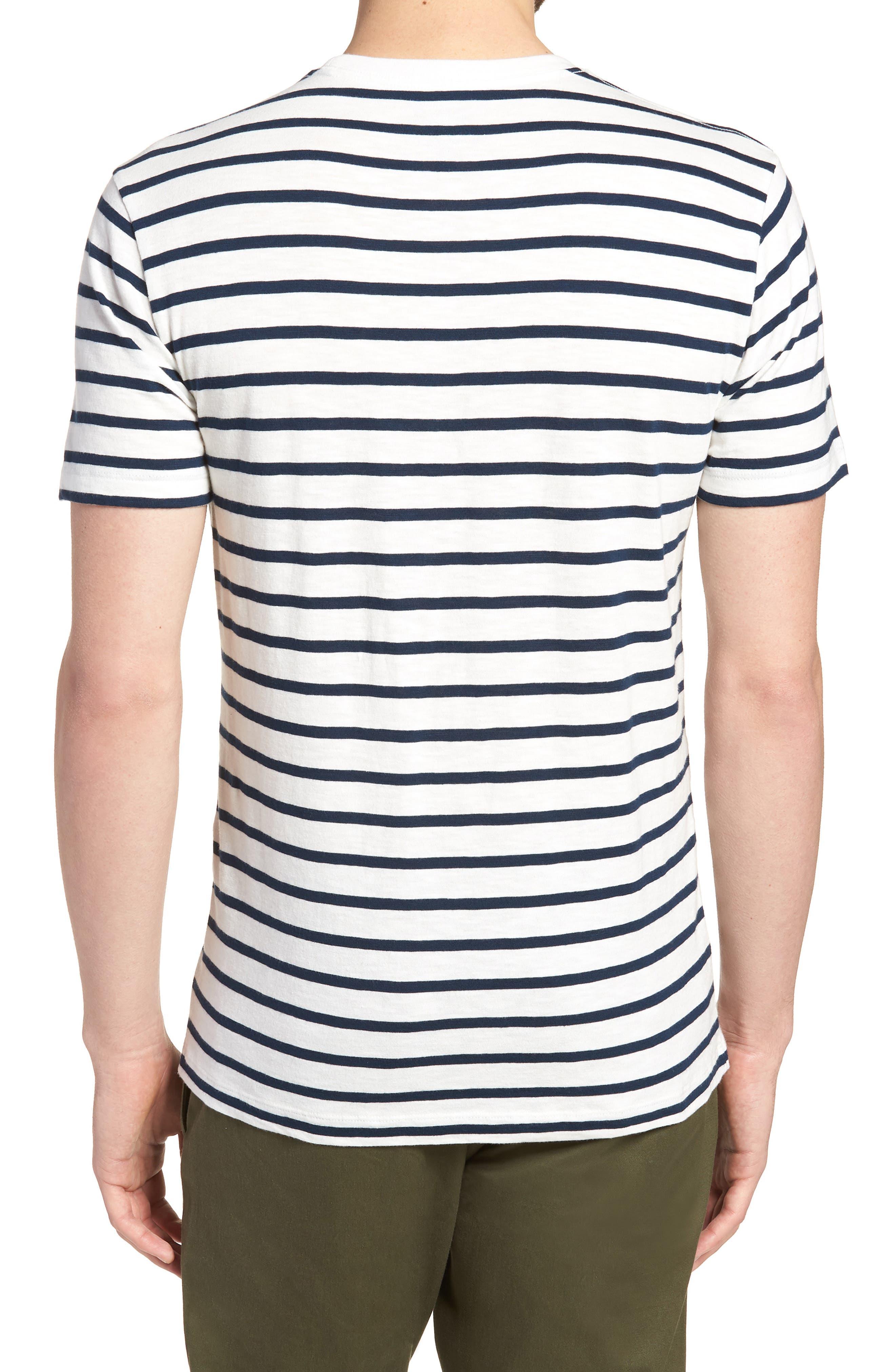 Deck Stripe Slub Cotton T-Shirt,                             Alternate thumbnail 2, color,                             Mountain White