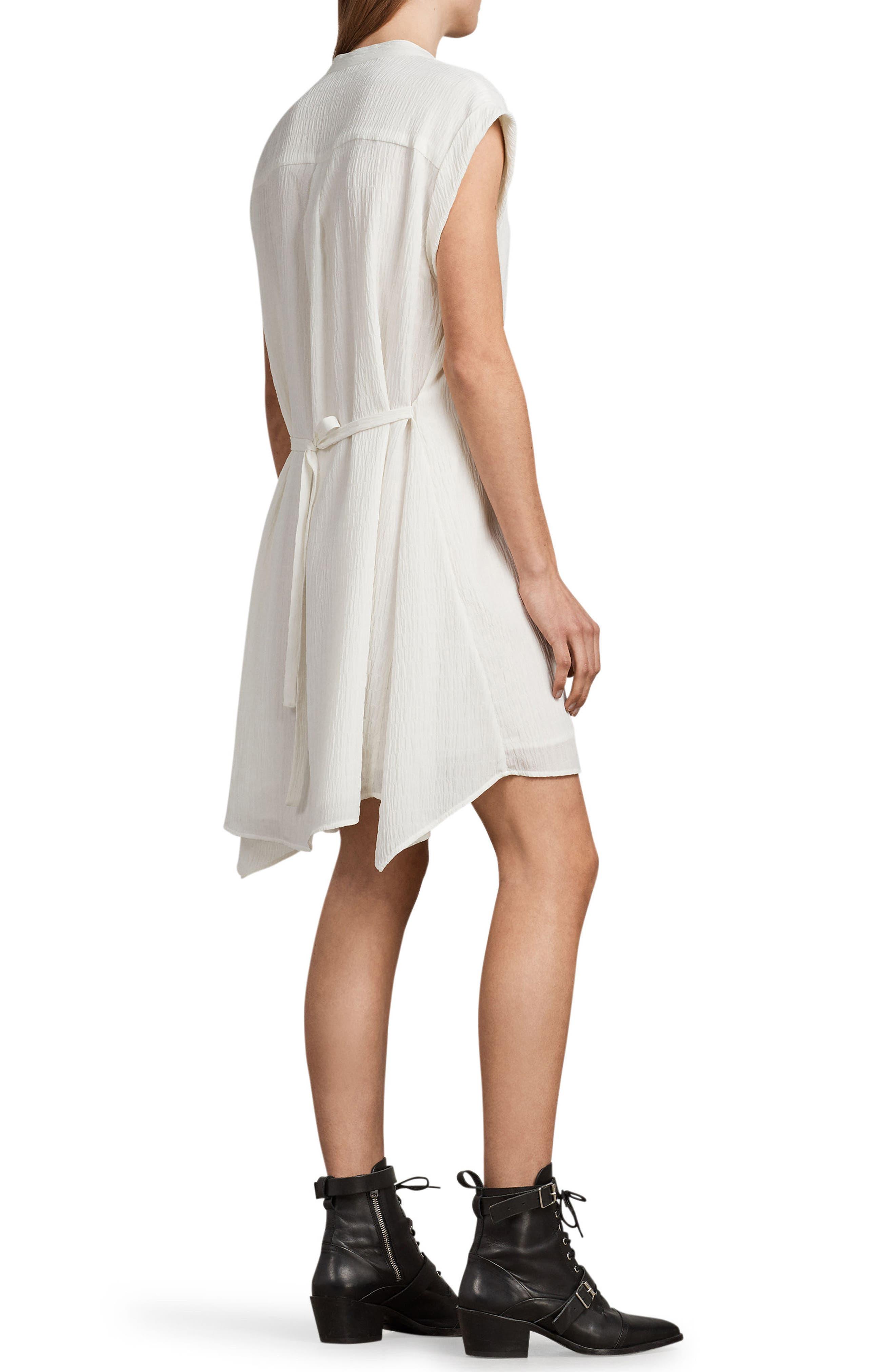 Meda Textured Shirtdress,                             Alternate thumbnail 2, color,                             Chalk White