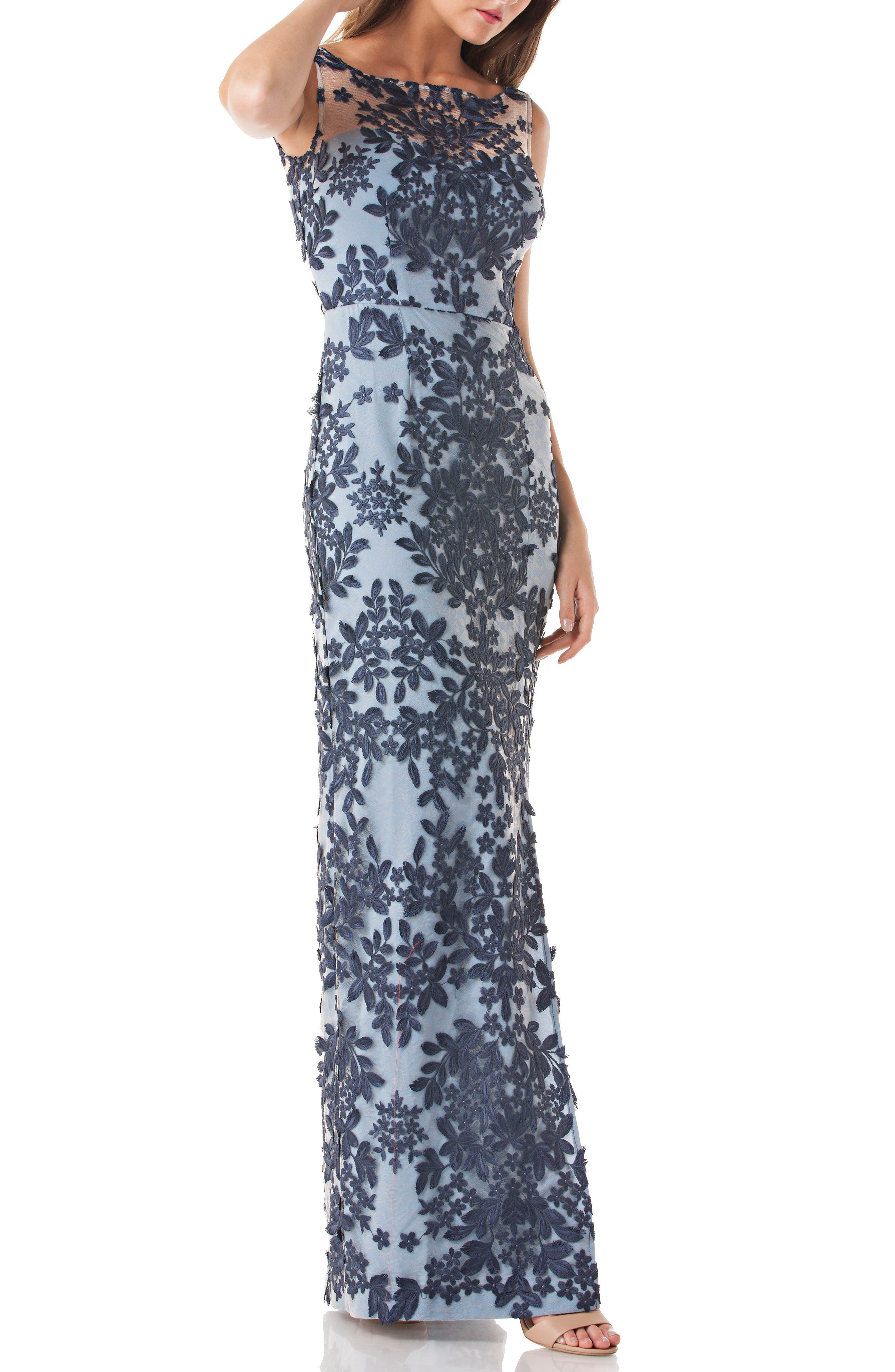 Leaf Embroidered Gown,                             Main thumbnail 1, color,                             Navy