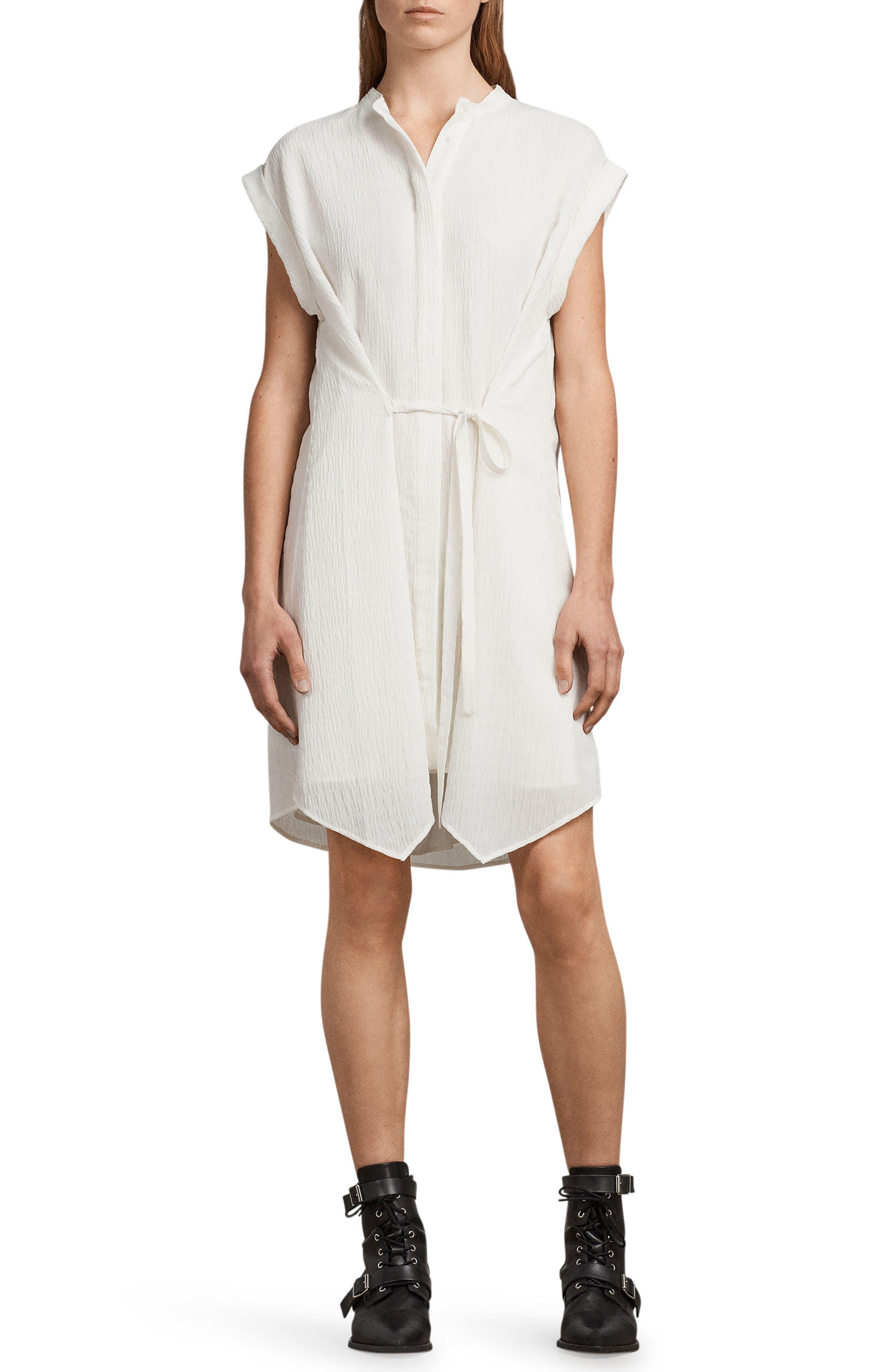 Meda Textured Shirtdress,                             Main thumbnail 1, color,                             Chalk White