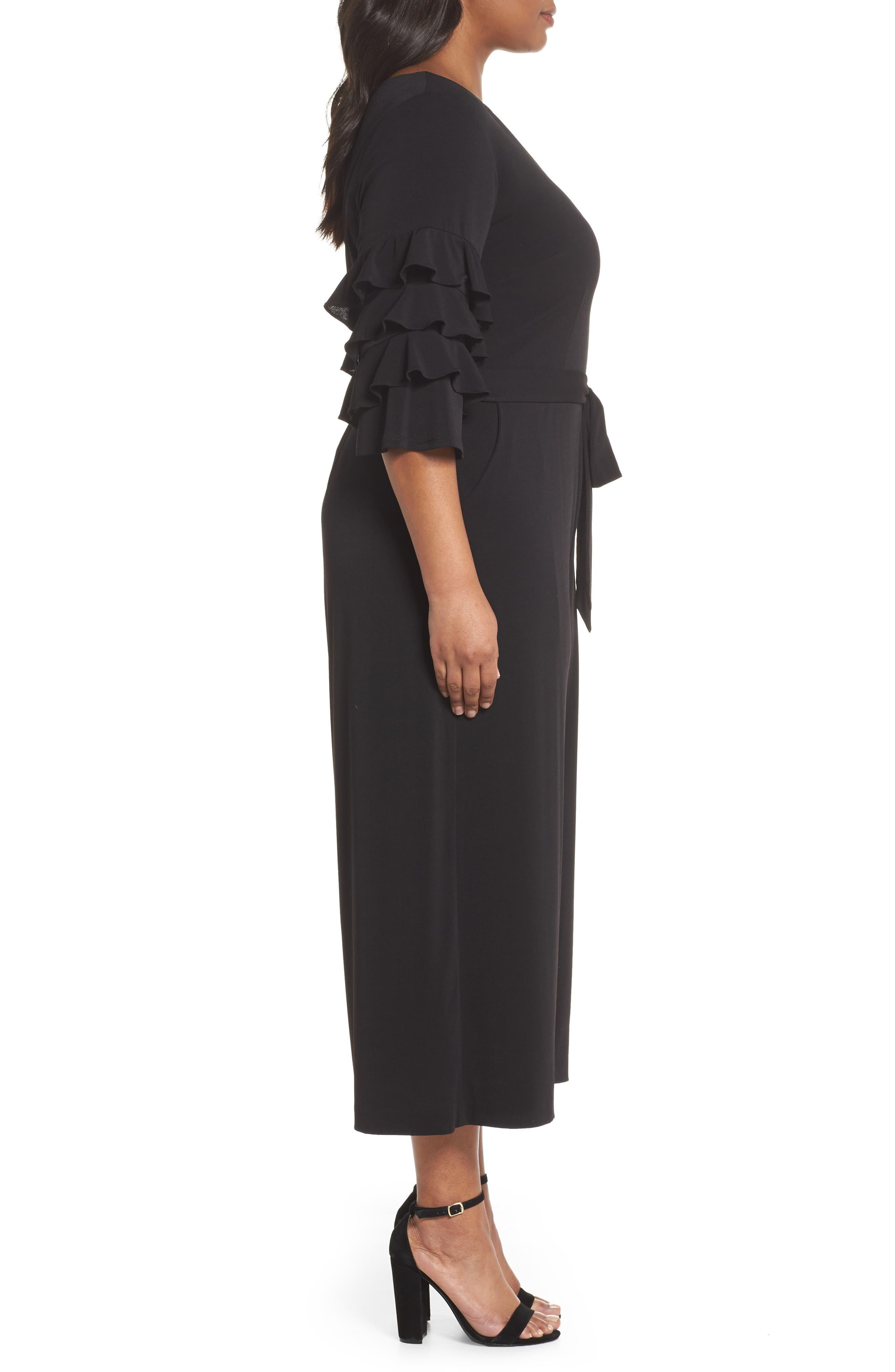 Tiered Ruffle Sleeve Crepe Jumpsuit,                             Alternate thumbnail 3, color,                             Black