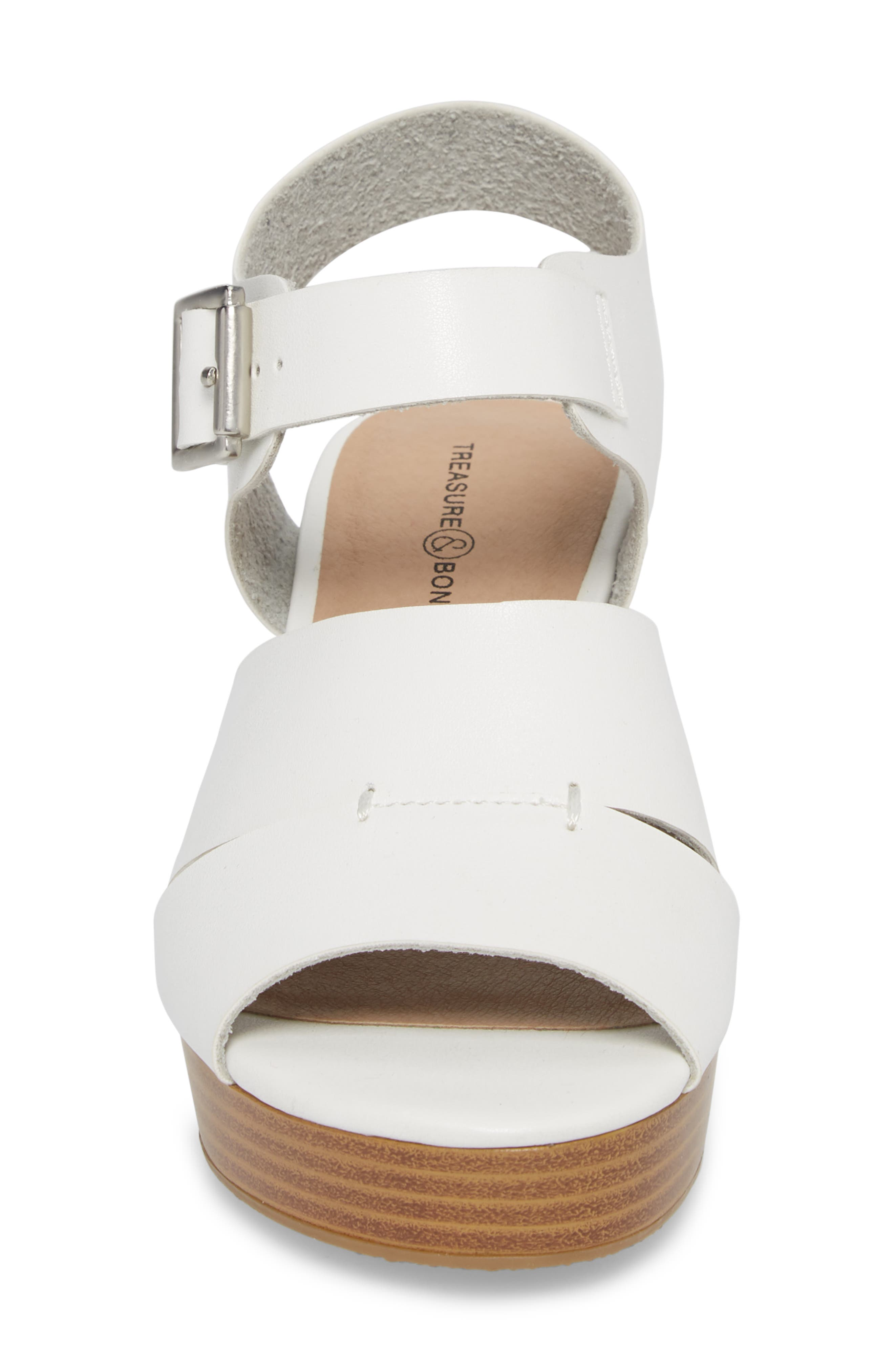 Hunter Platform Wedge Sandal,                             Alternate thumbnail 4, color,                             White Faux Leather