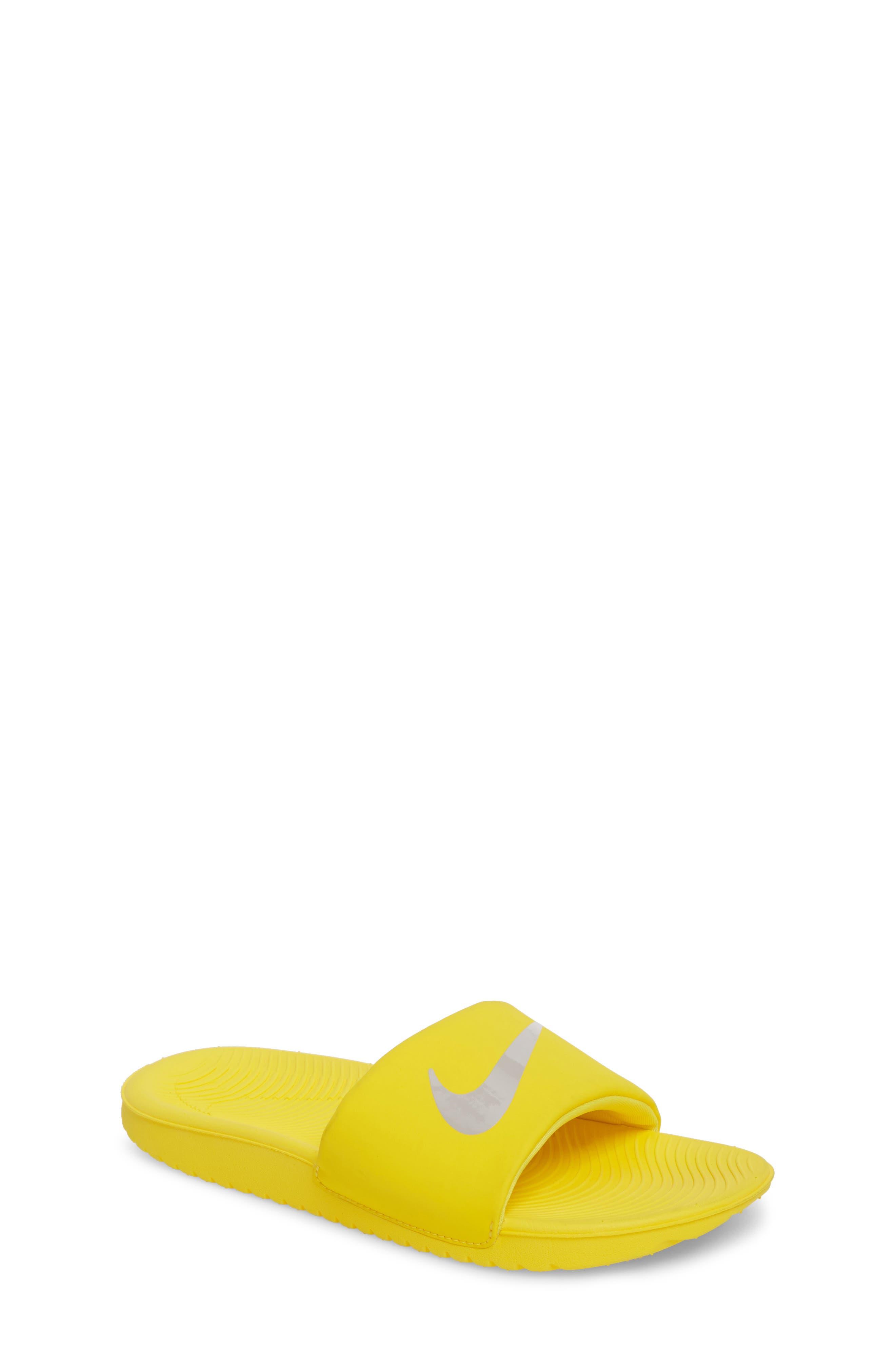 'Kawa' Slide Sandal,                         Main,                         color, Yellow/ Atmosphere Grey
