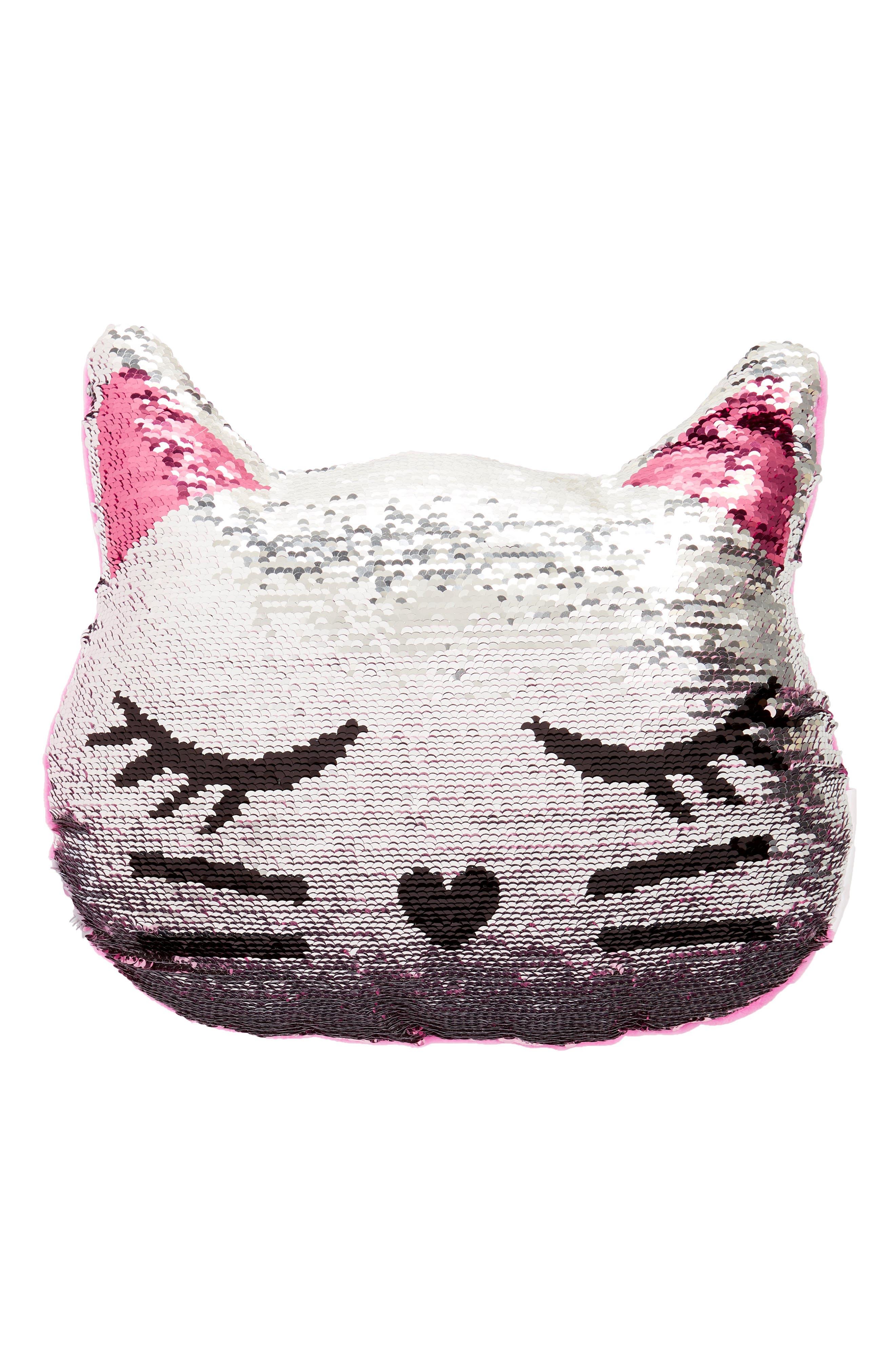 Reversible Sequin Cat Pillow,                             Alternate thumbnail 3, color,                             Silver Combo