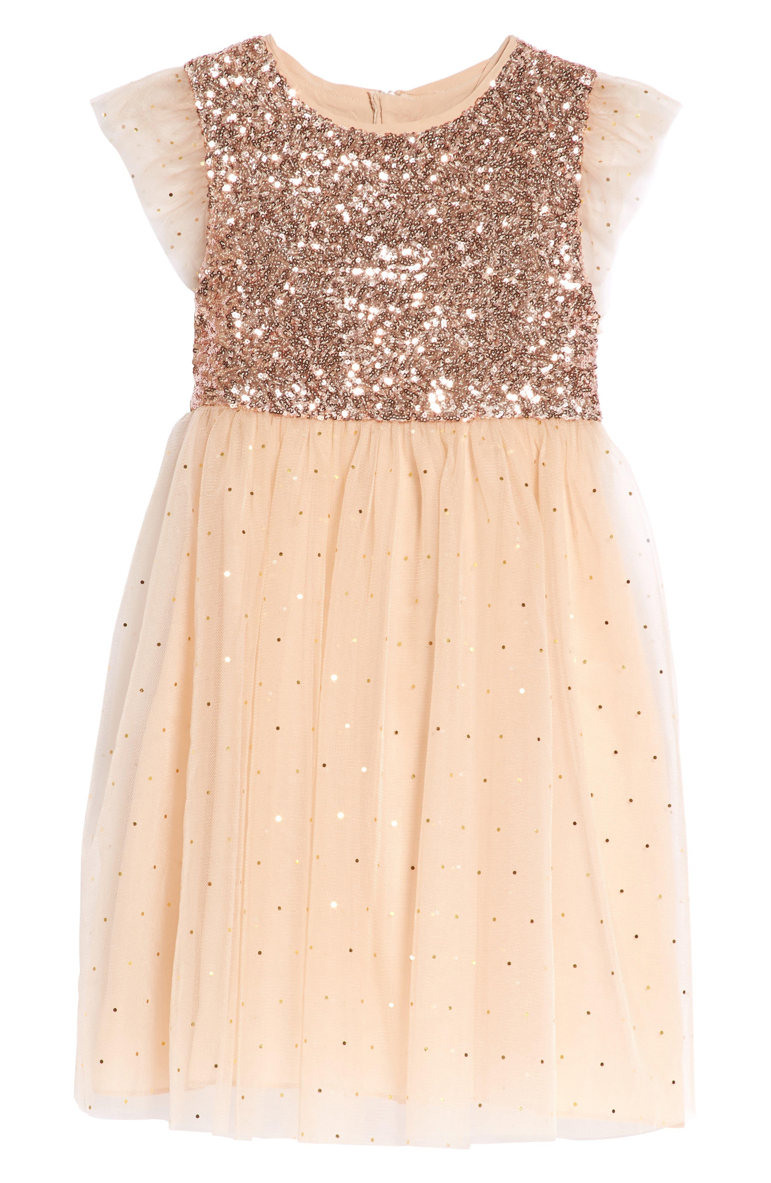 Glitter Moon Dress,                         Main,                         color, Peach