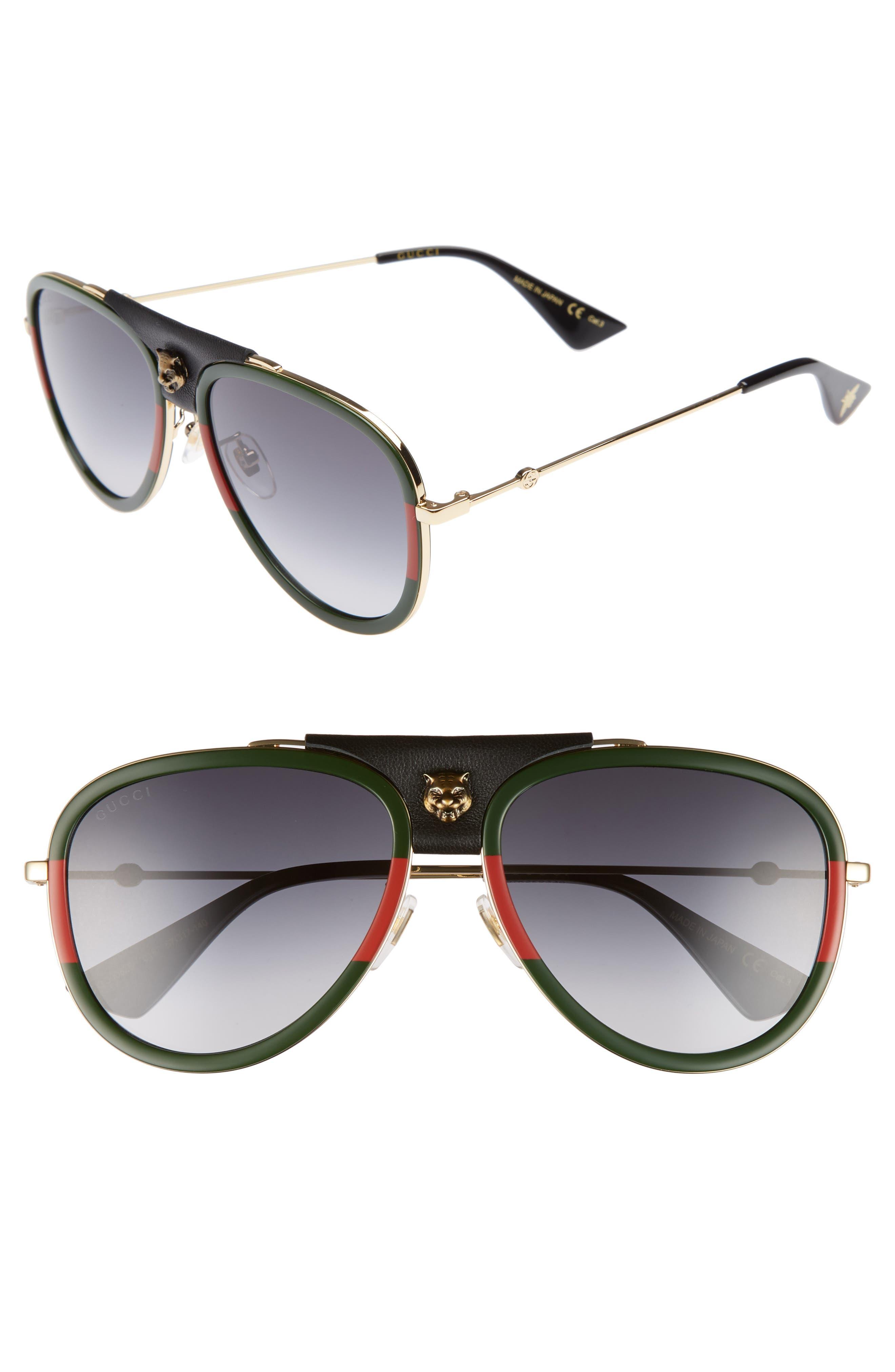 Gucci Web Block 57mm Leather Aviator Sunglasses