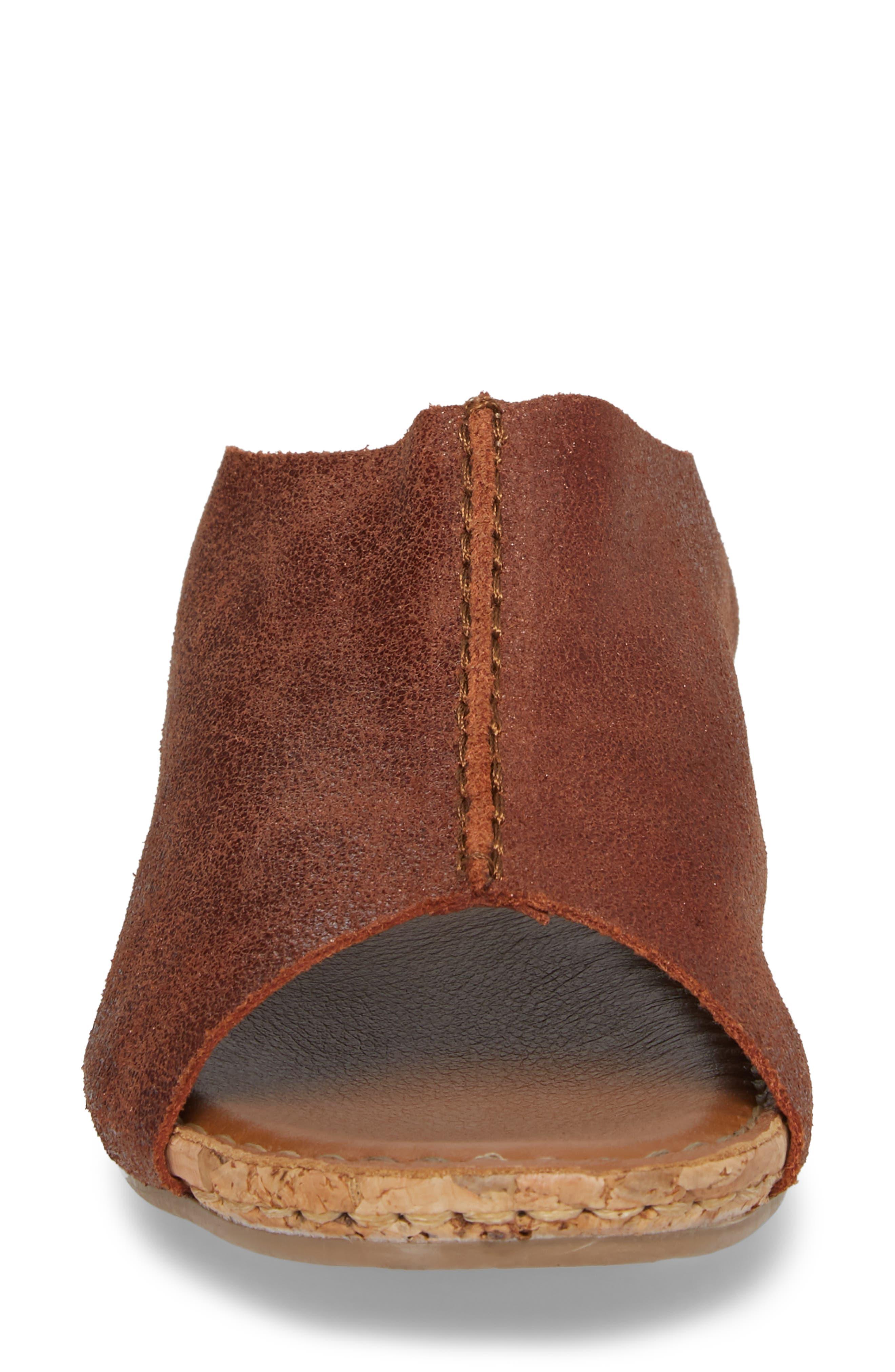 Gracey Slide Sandal,                             Alternate thumbnail 4, color,                             Rum Leather