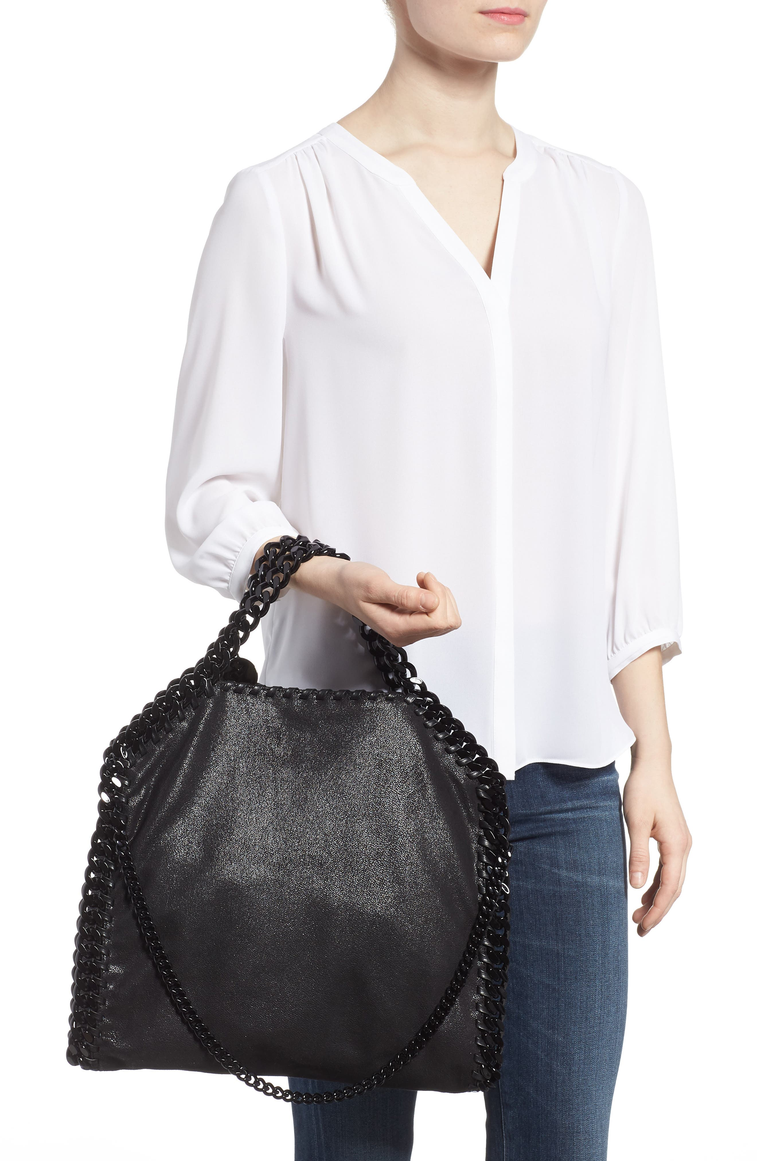 Falabella Shaggy Deer Faux Leather Tote,                             Alternate thumbnail 2, color,                             Black