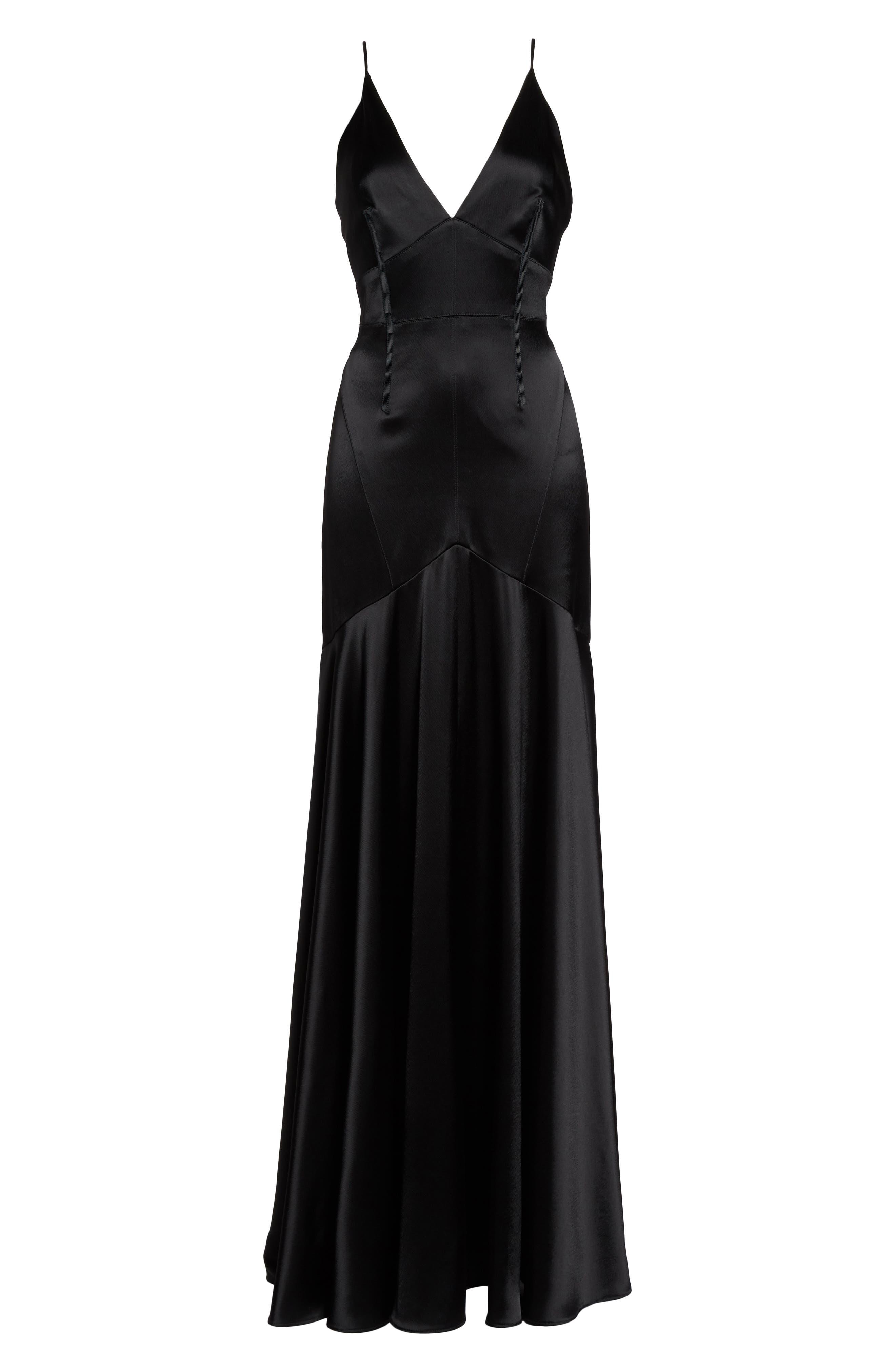 Corset Detail Satin Gown,                             Alternate thumbnail 6, color,                             Black