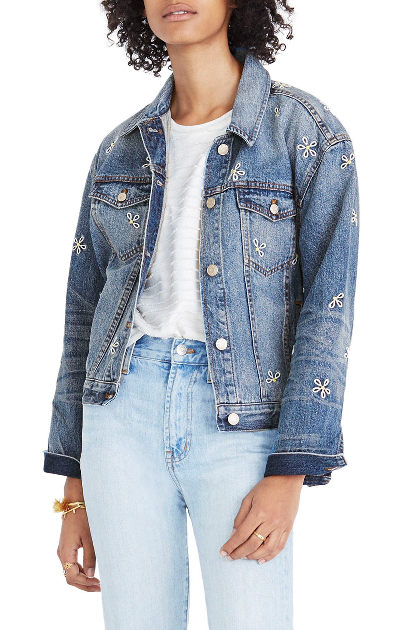 Daisy Embroidered Boxy Crop Denim Jacket,                             Main thumbnail 1, color,                             Brook Hill Wash