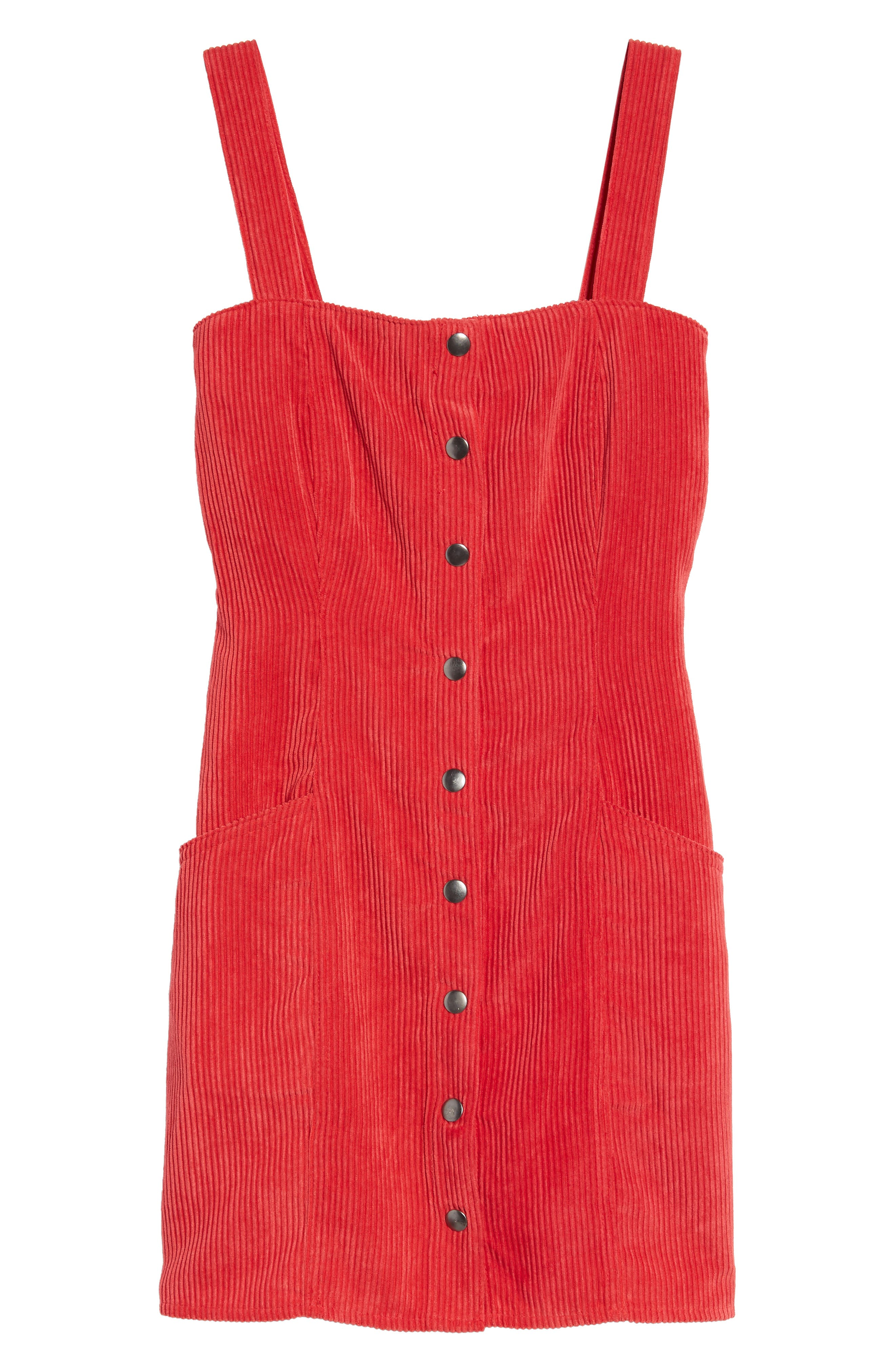 Button Front Corduroy Dress,                             Alternate thumbnail 6, color,                             Red
