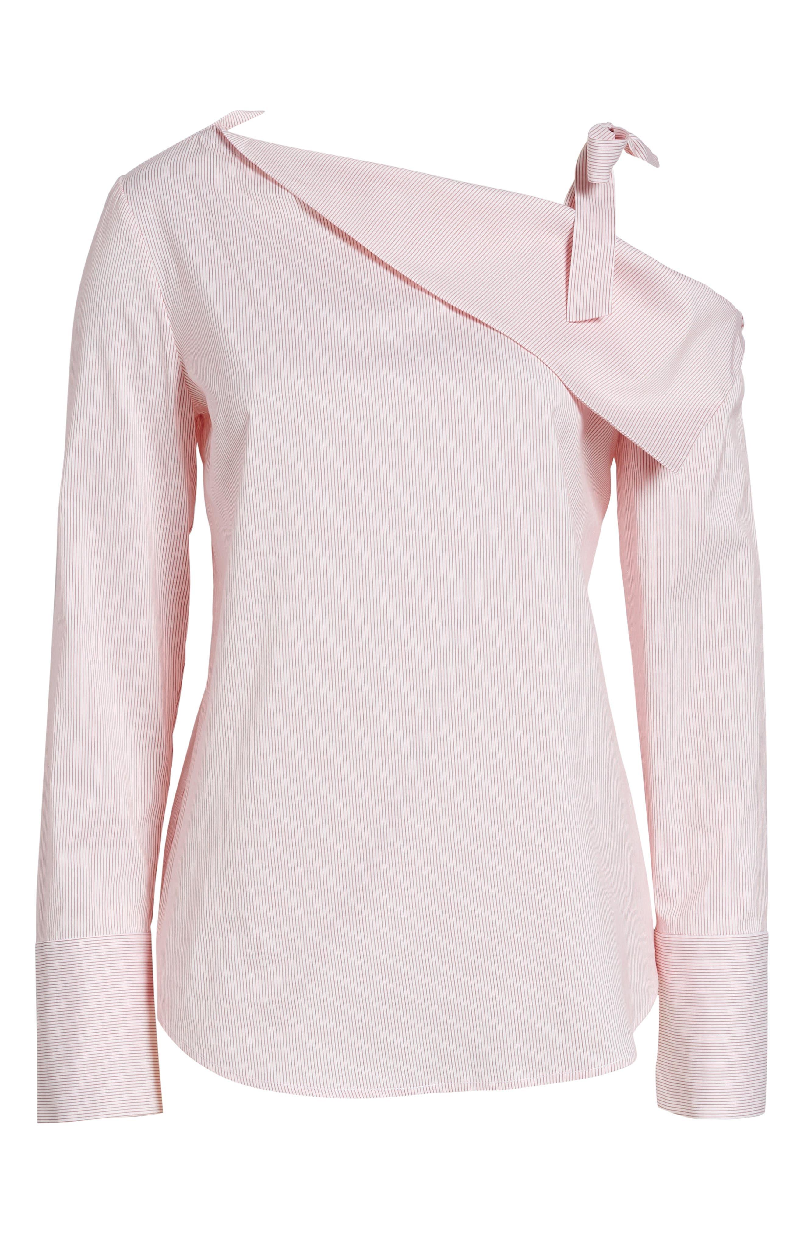 One-Shoulder Shirt,                             Alternate thumbnail 7, color,                             Pink Honey Chic Stripe