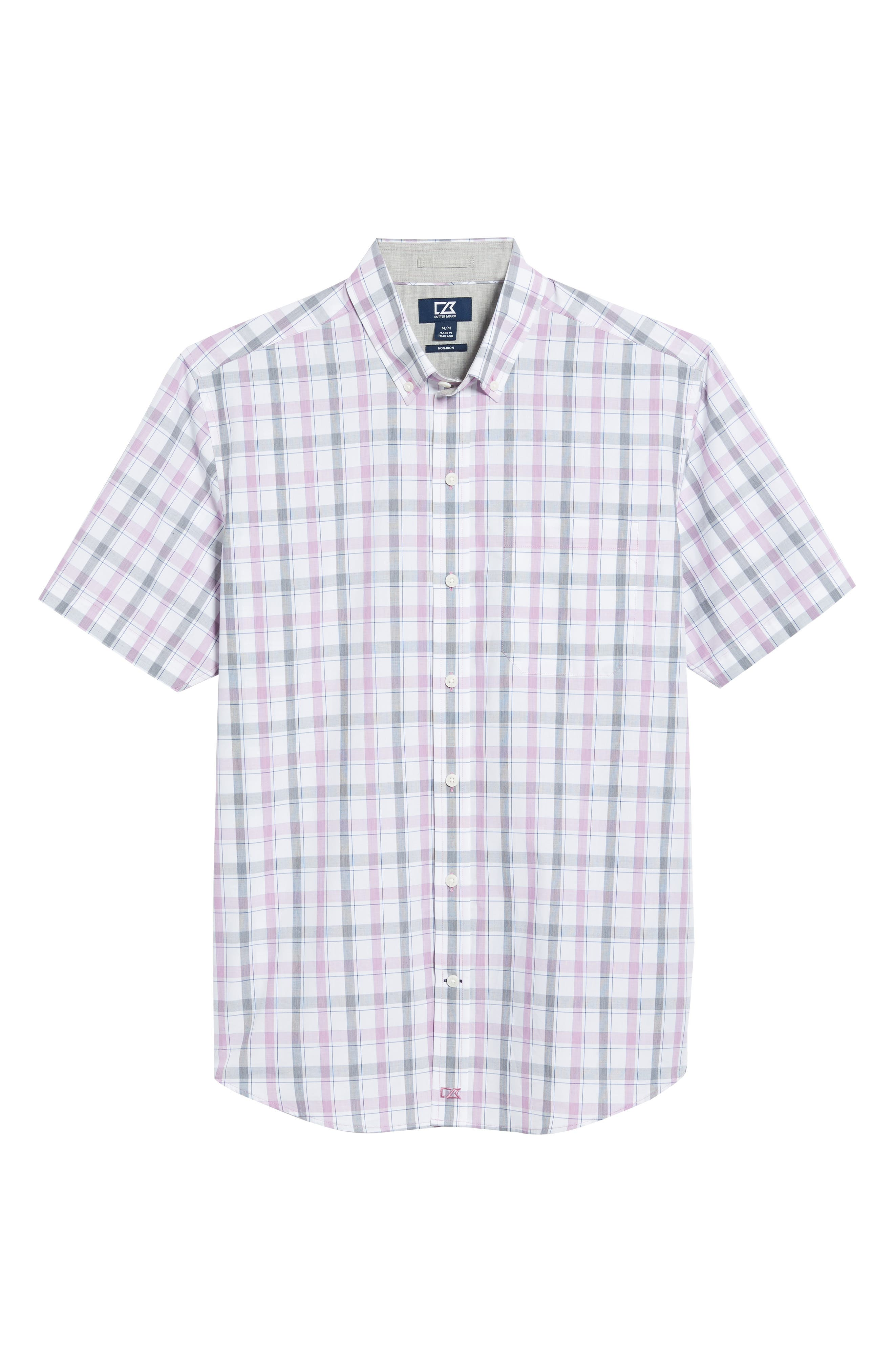 Griffen Non-Iron Plaid Sport Shirt,                             Alternate thumbnail 6, color,                             Magnetic