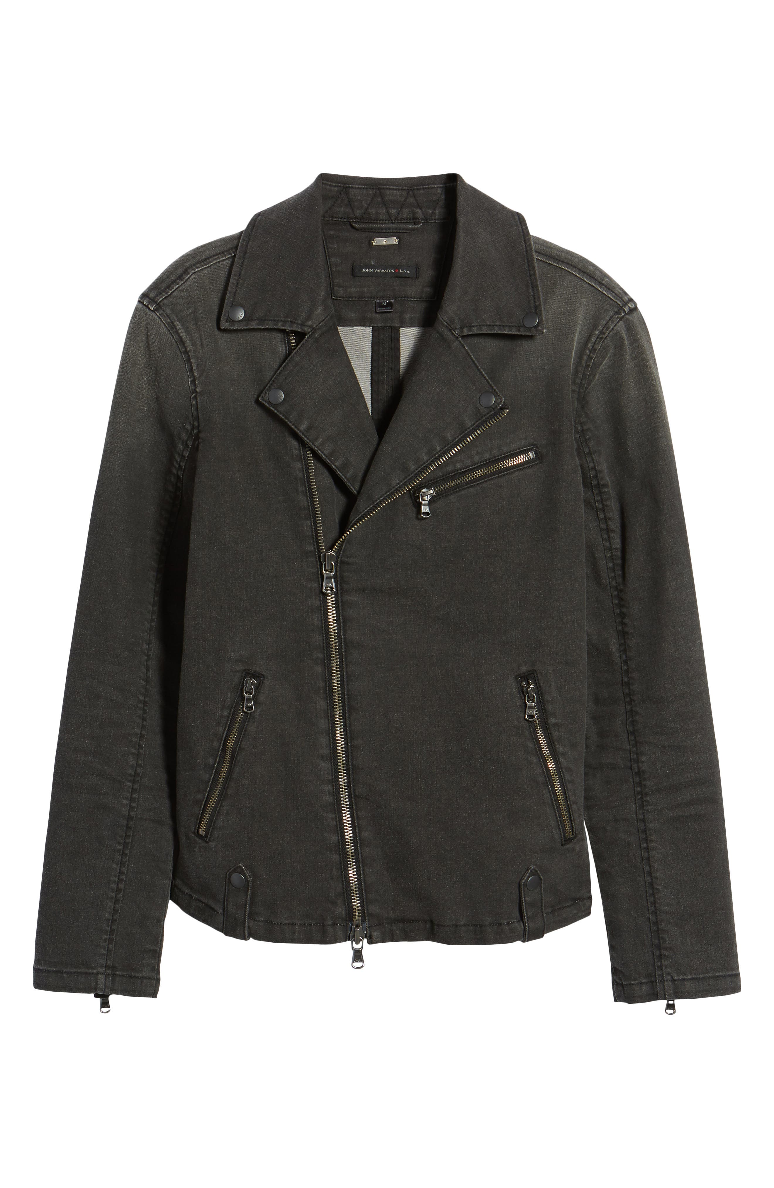 Alternate Image 5  - John Varvatos Star USA Slim Fit Stretch Moto Denim Jacket