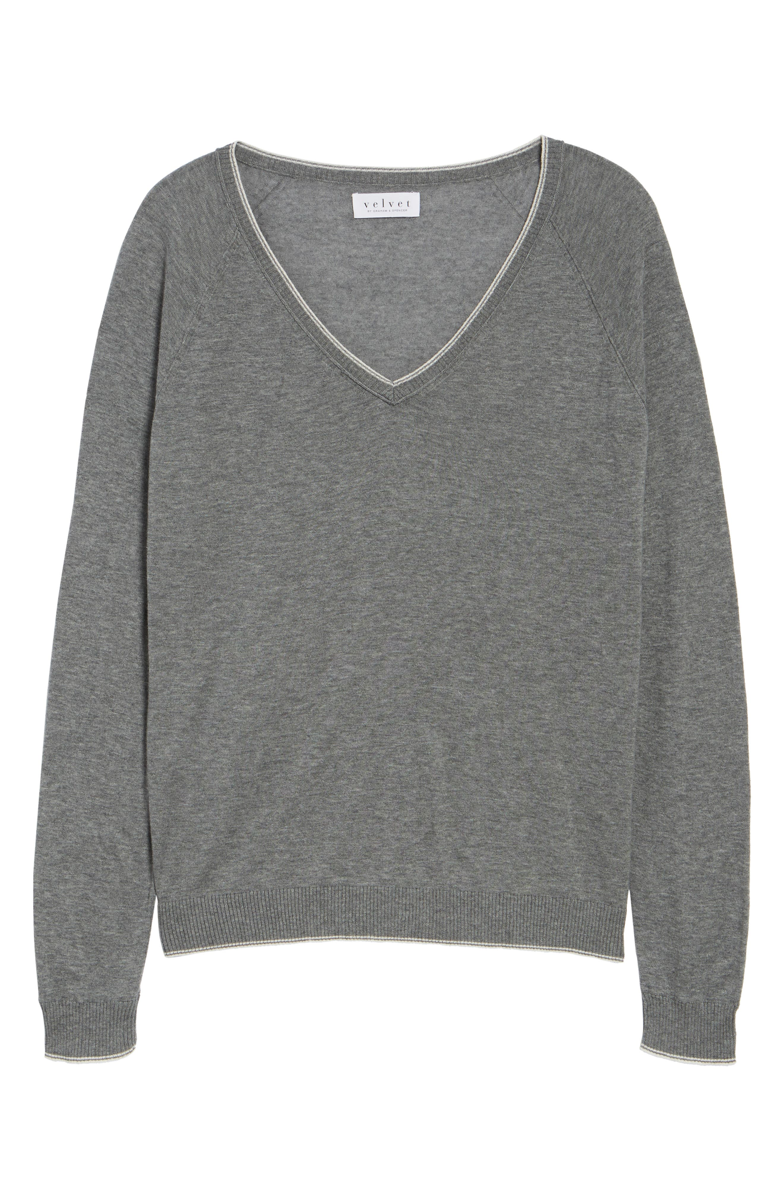 Lux Cotton Sweater,                             Alternate thumbnail 7, color,                             Heather Grey
