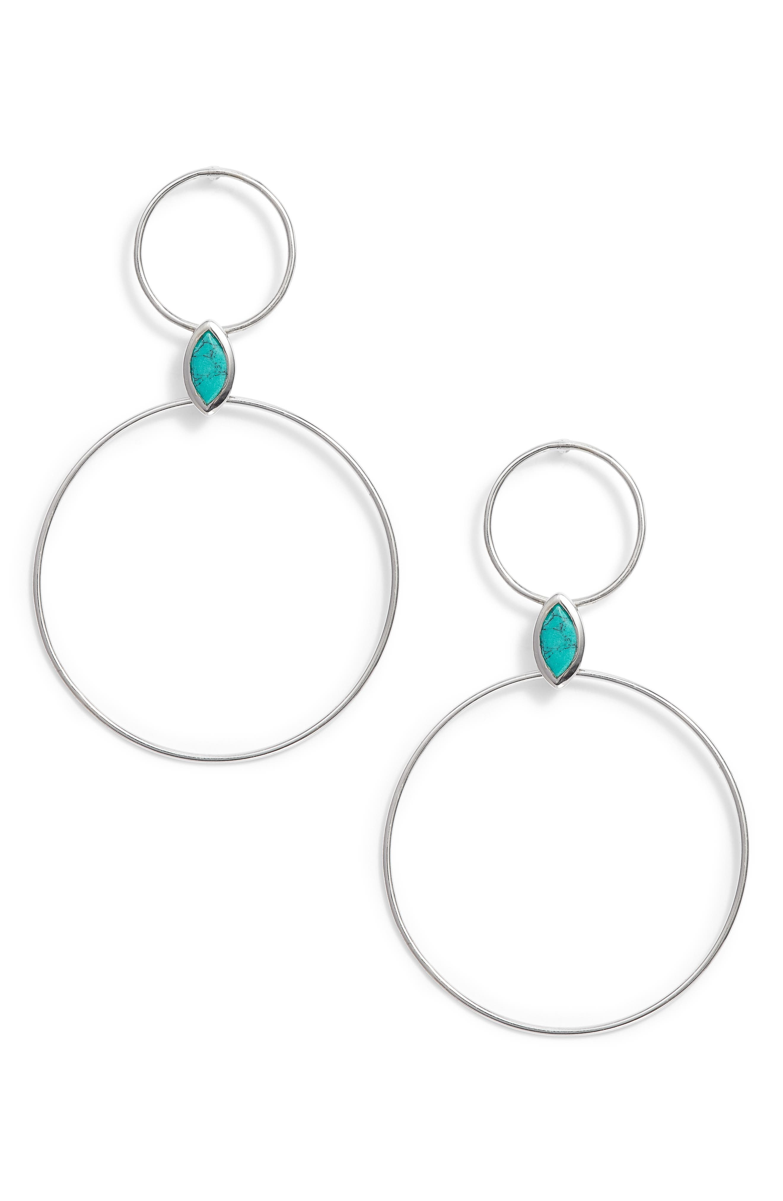 Double Circle Stone Drop Earrings,                             Main thumbnail 1, color,                             Silver/ Turquoise