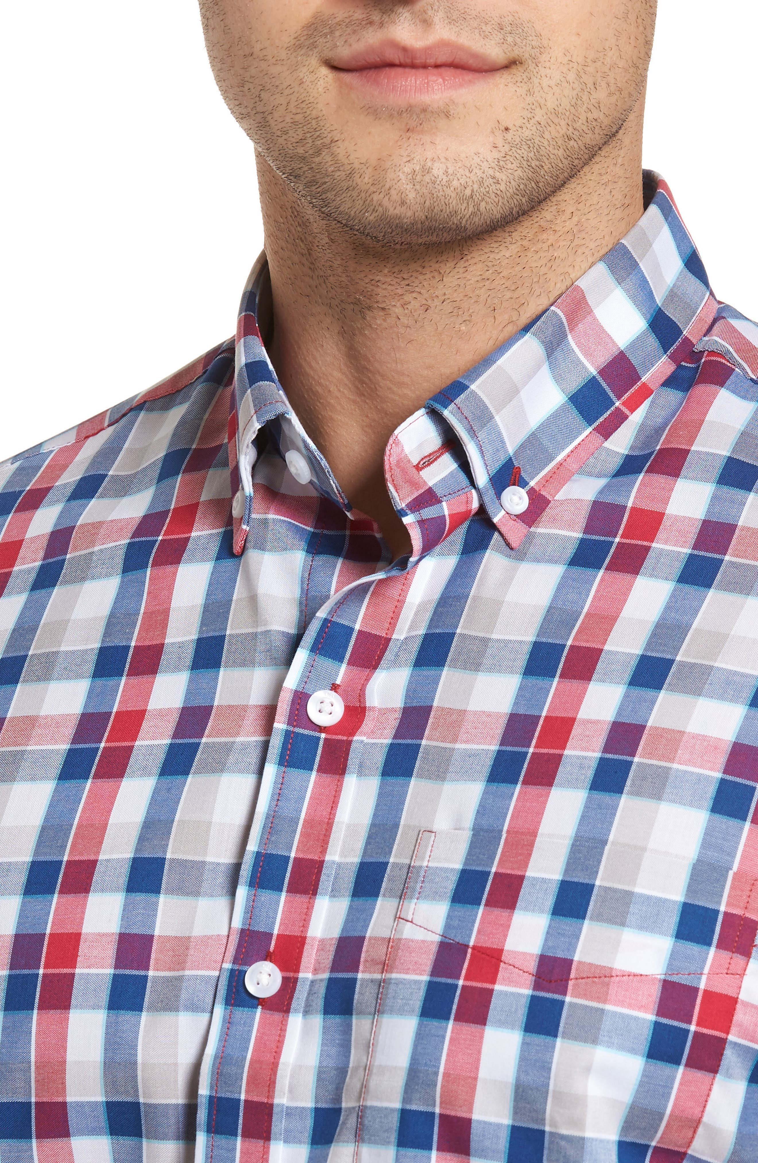 Dylan Classic Fit Easy Care Check Sport Shirt,                             Alternate thumbnail 4, color,                             Virtual