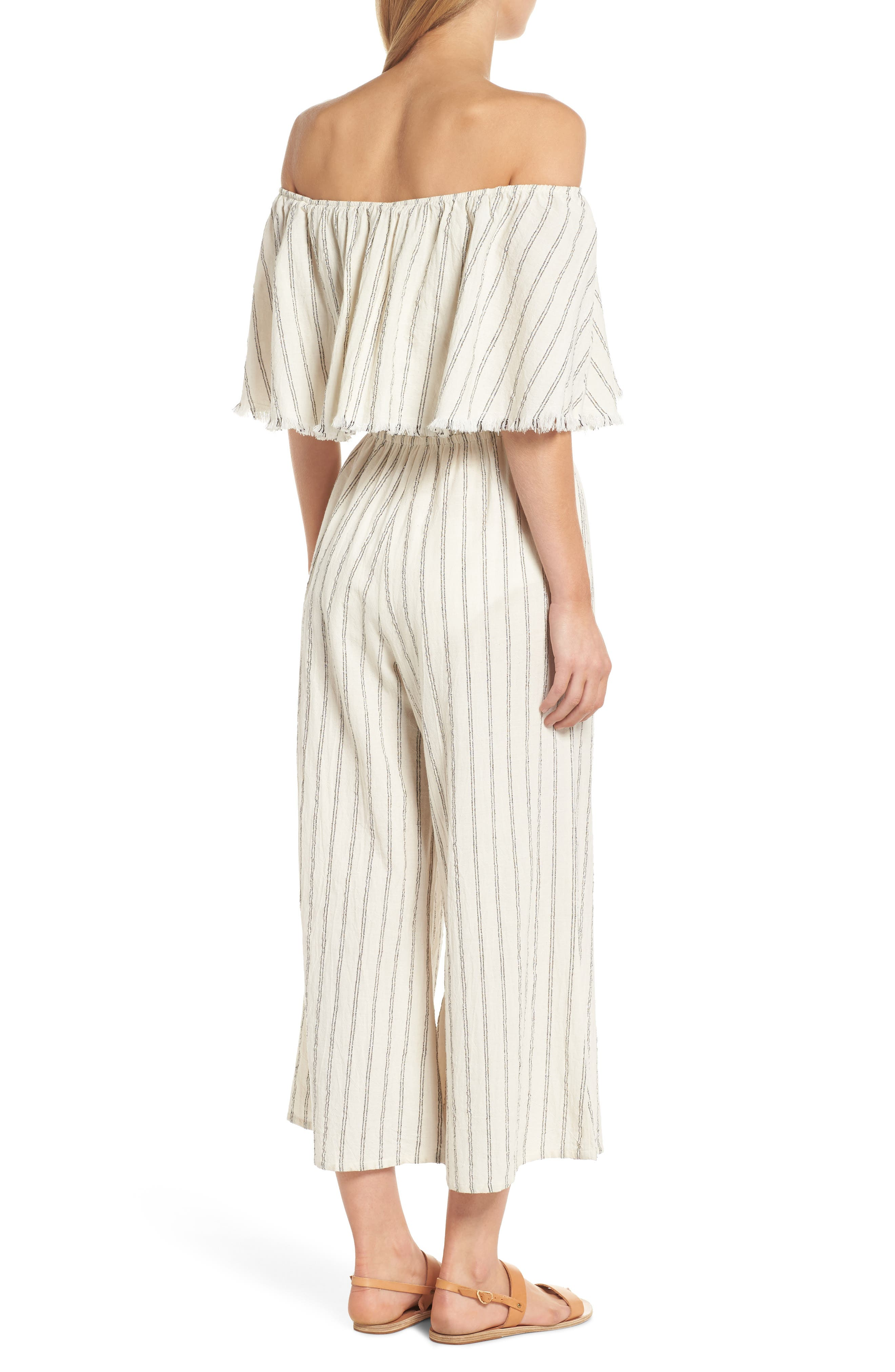 Ruffle Coulotte Cover-Up Jumpsuit,                             Alternate thumbnail 2, color,                             Natural Stripe