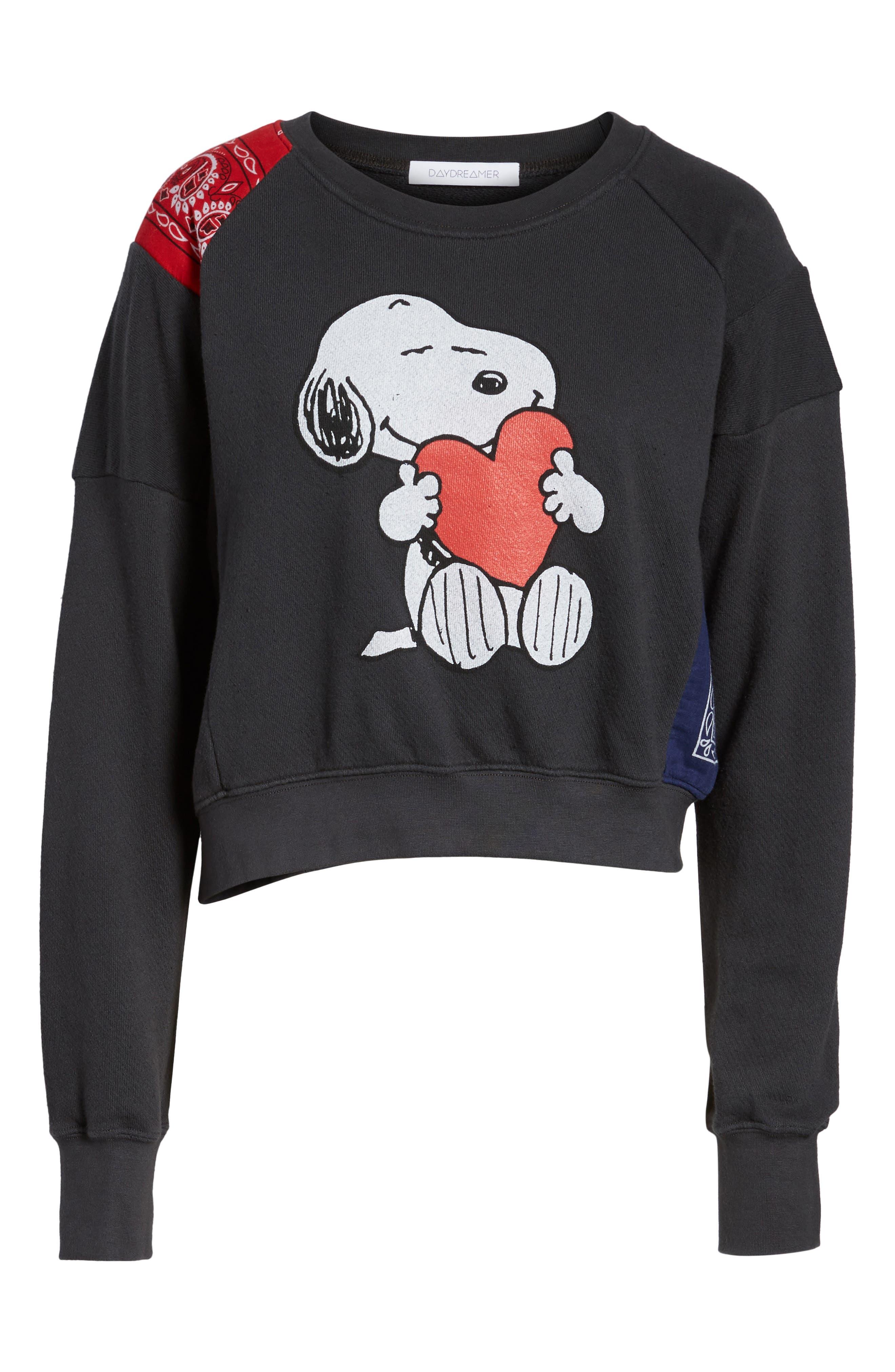 Snoopy Bandana Panel Sweatshirt,                         Main,                         color, Black