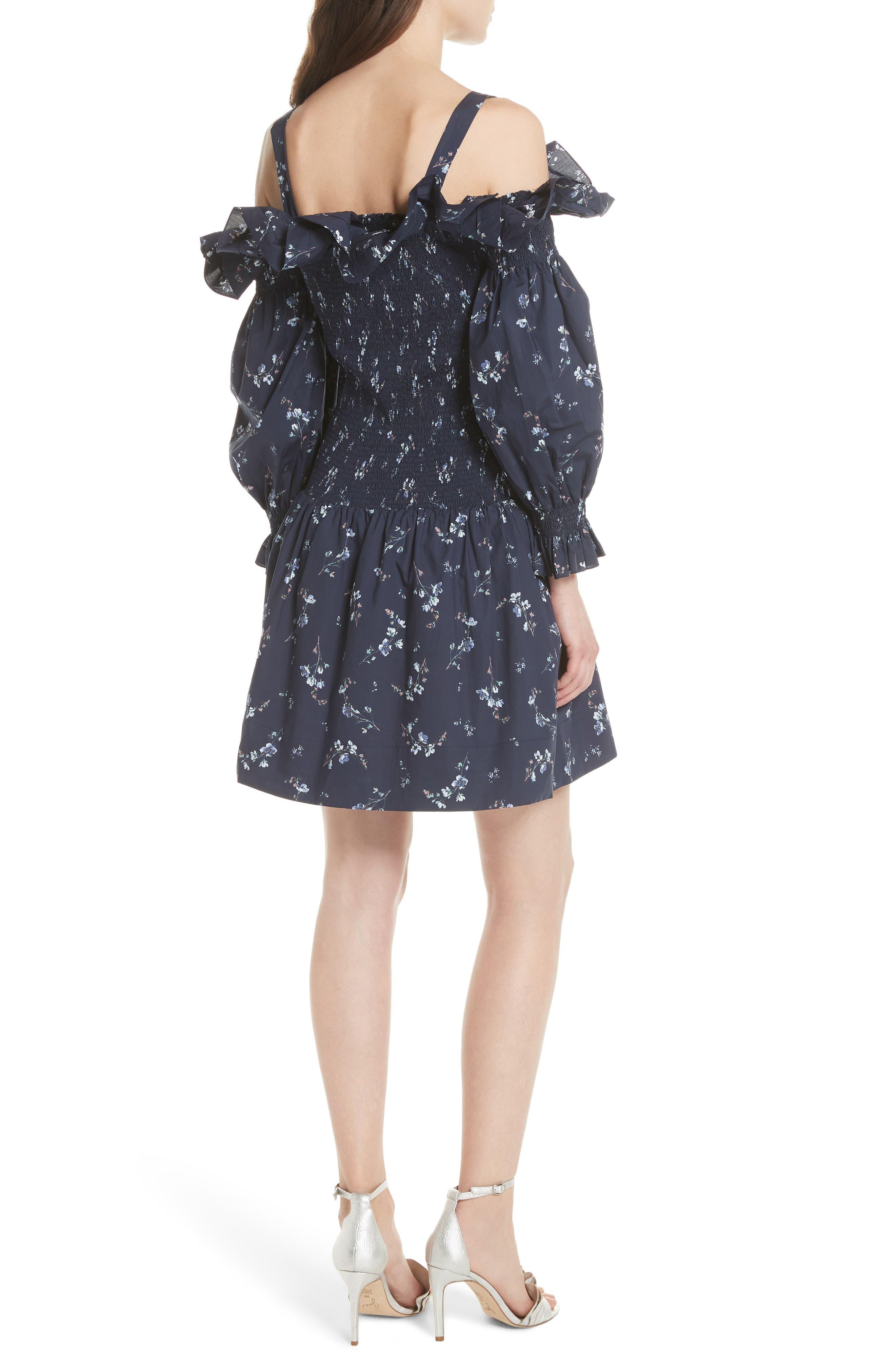 Francine Cold Shoulder Dress,                             Alternate thumbnail 3, color,                             Navy Combo