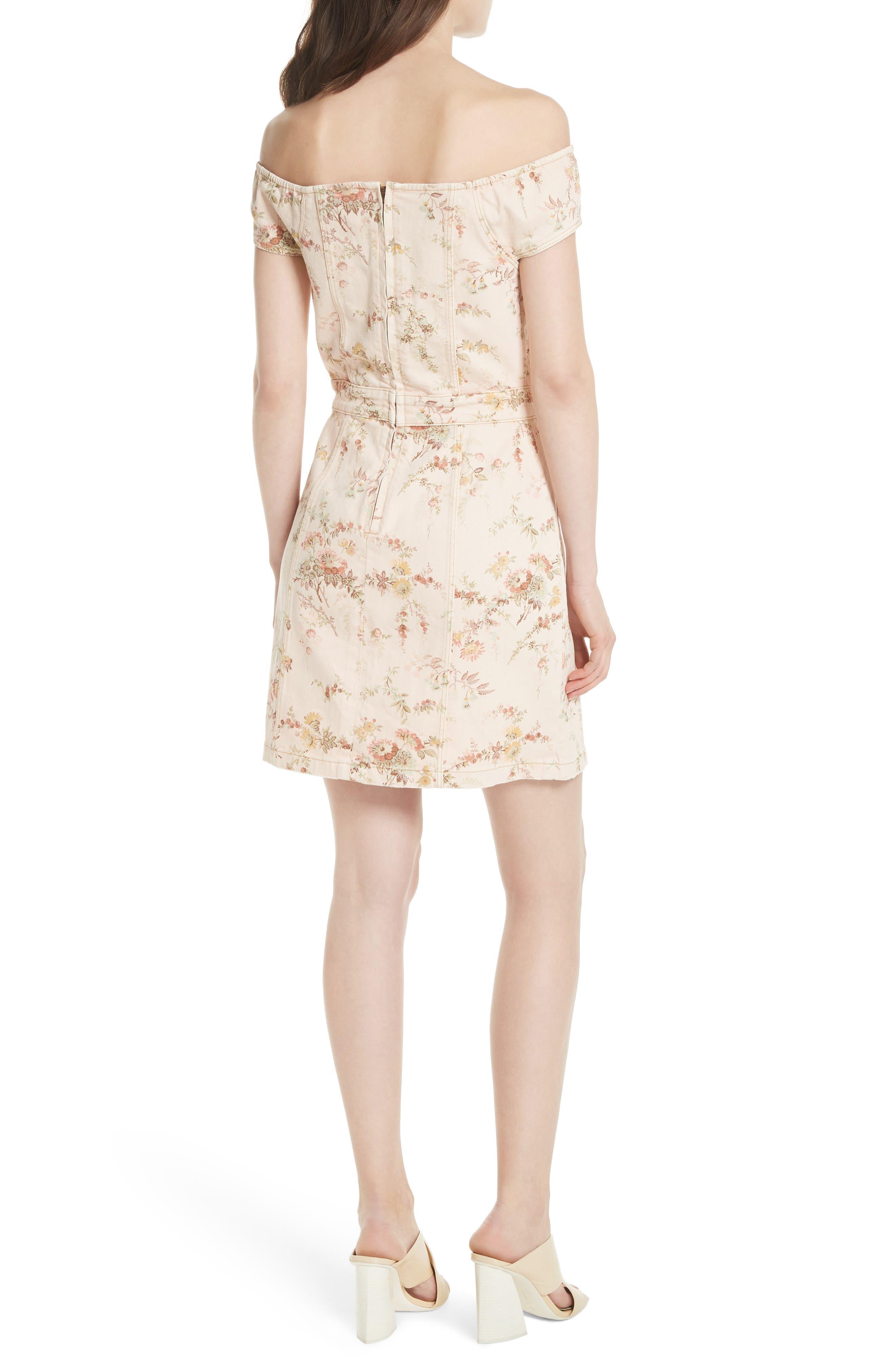 Floral Off the Shoulder Denim Dress,                             Alternate thumbnail 2, color,                             Frappe Combo