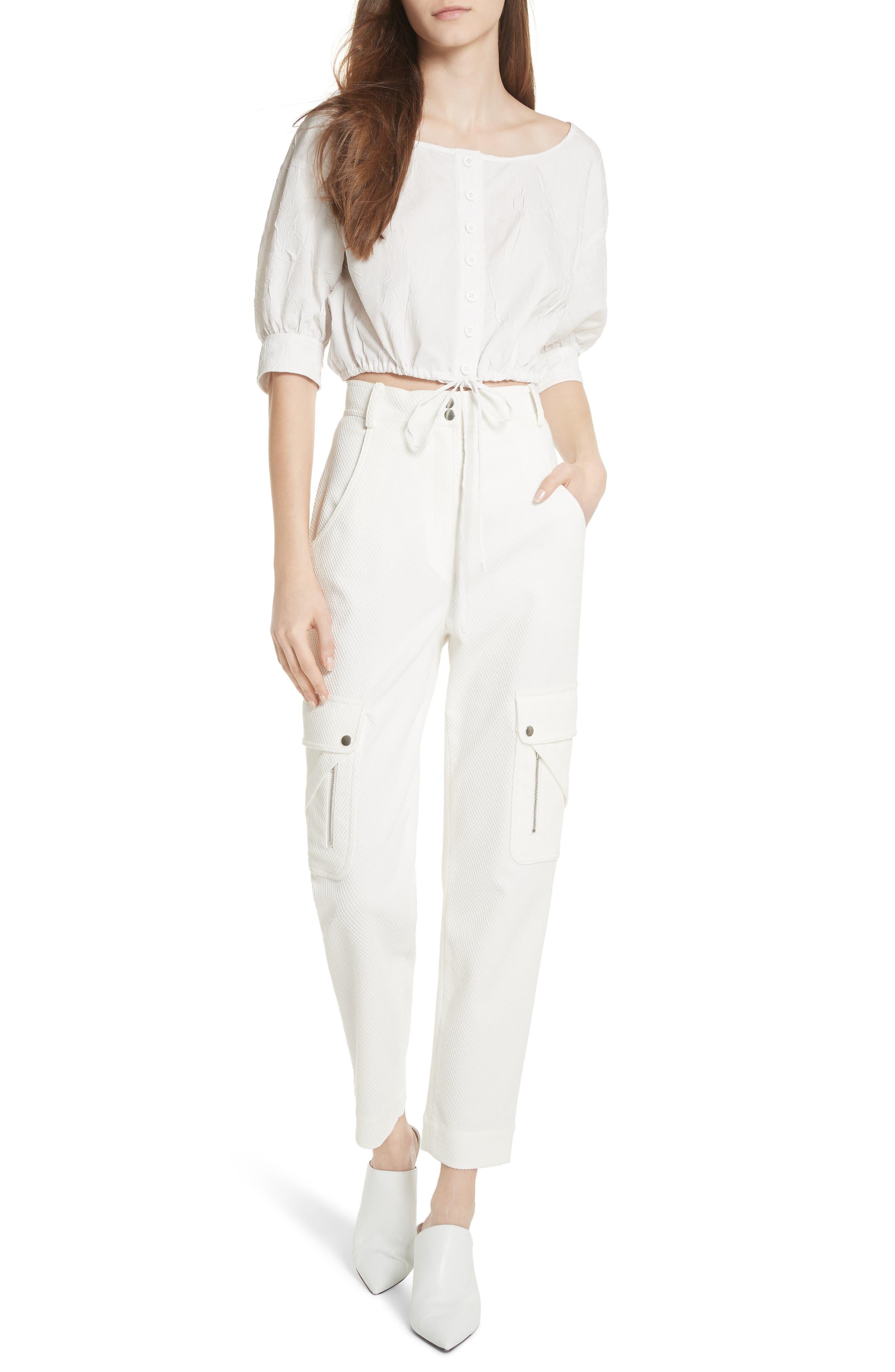 Textured Stretch Cotton Blend Utility Pants,                             Alternate thumbnail 7, color,                             Soft White