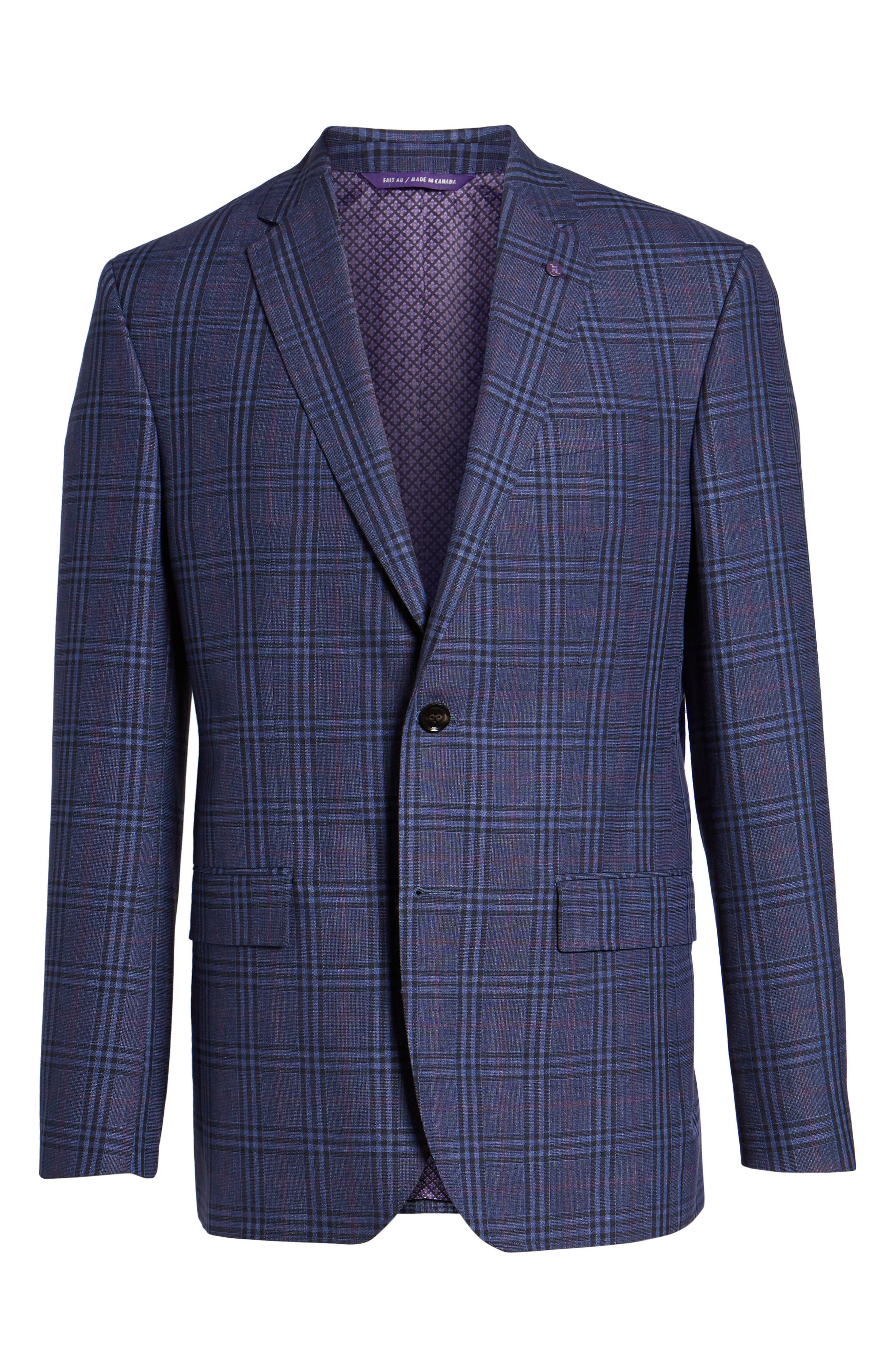 Alternate Image 6  - Ted Baker London Jay Trim Fit Plaid Wool & Linen Sport Coat