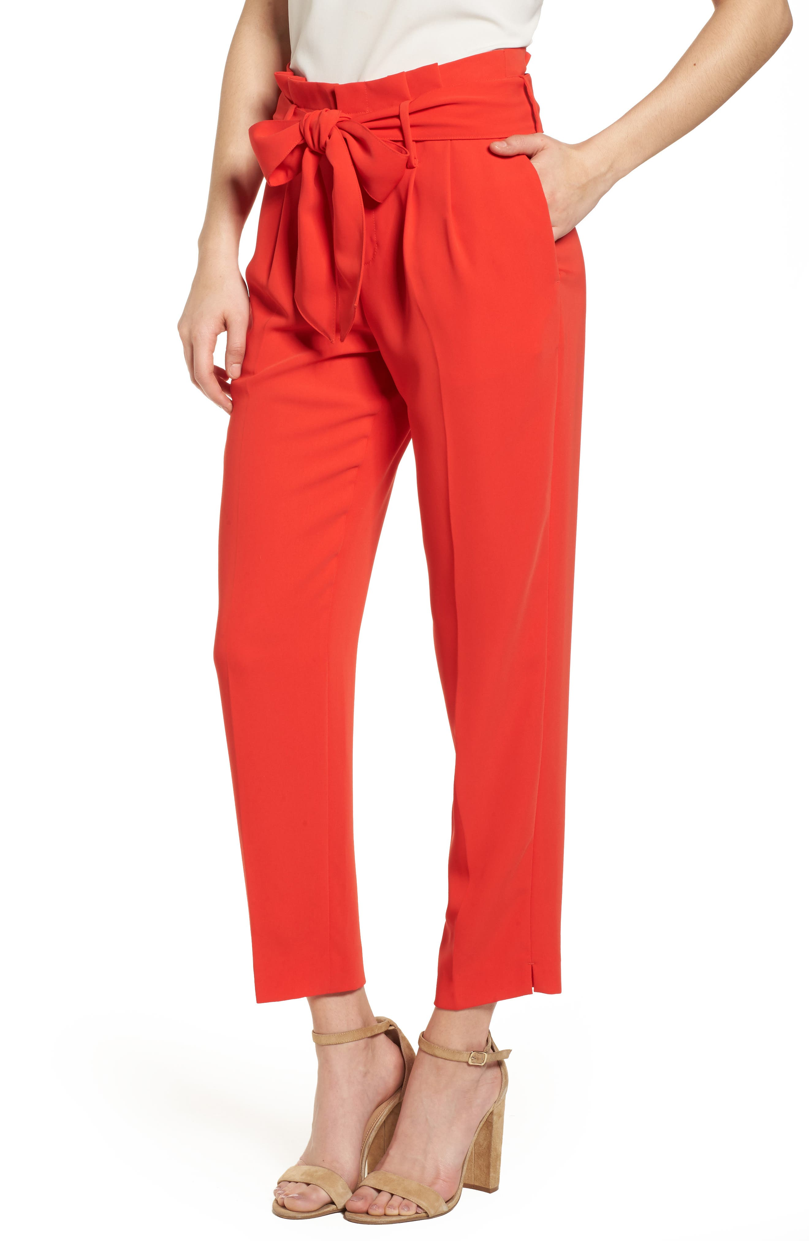 Paperbag Waist Crop Trousers,                         Main,                         color, Red Pop