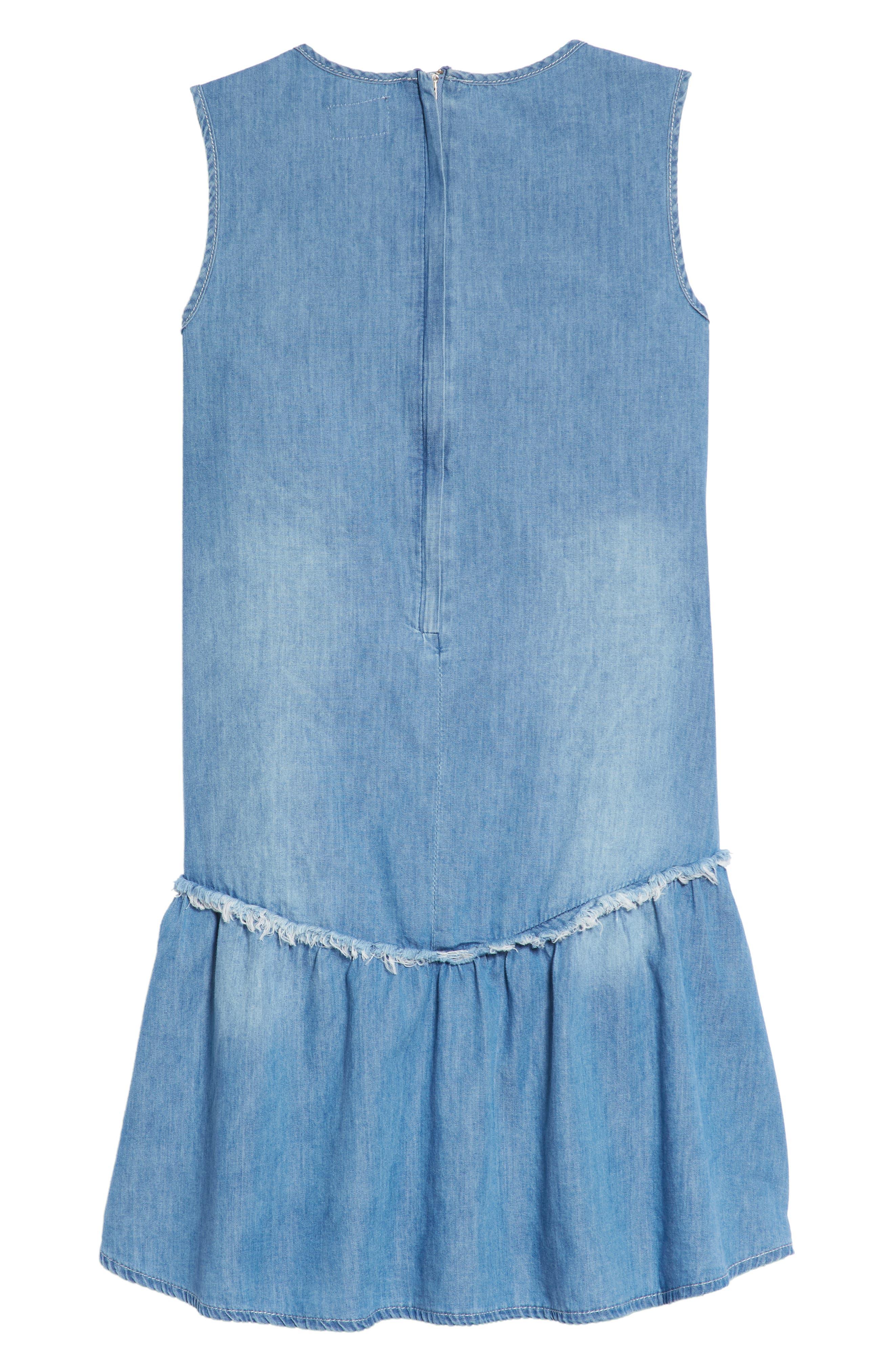 Lulu Lace-Up Chambray Dress,                             Alternate thumbnail 2, color,                             Light Blue