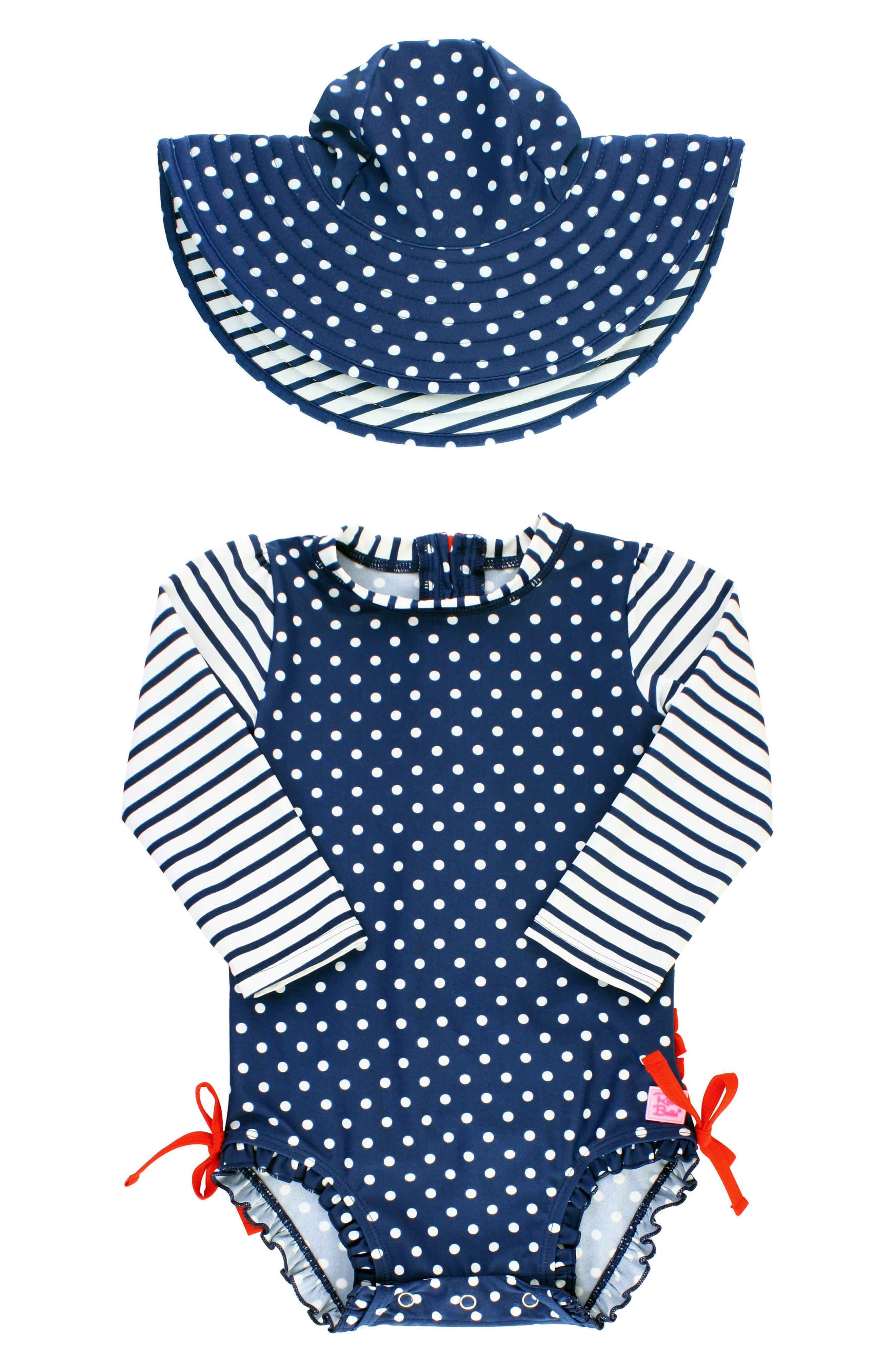 Polka Dot One-Piece Rashguard Swimsuit & Sun Hat Set,                         Main,                         color, Navy