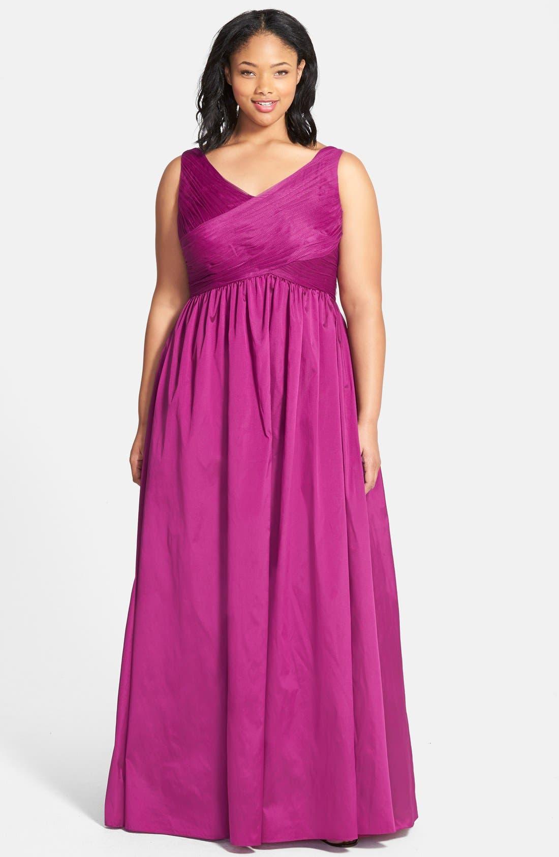 Main Image - Adrianna Papell Sleeveless Taffeta & Tulle Gown (Plus Size)