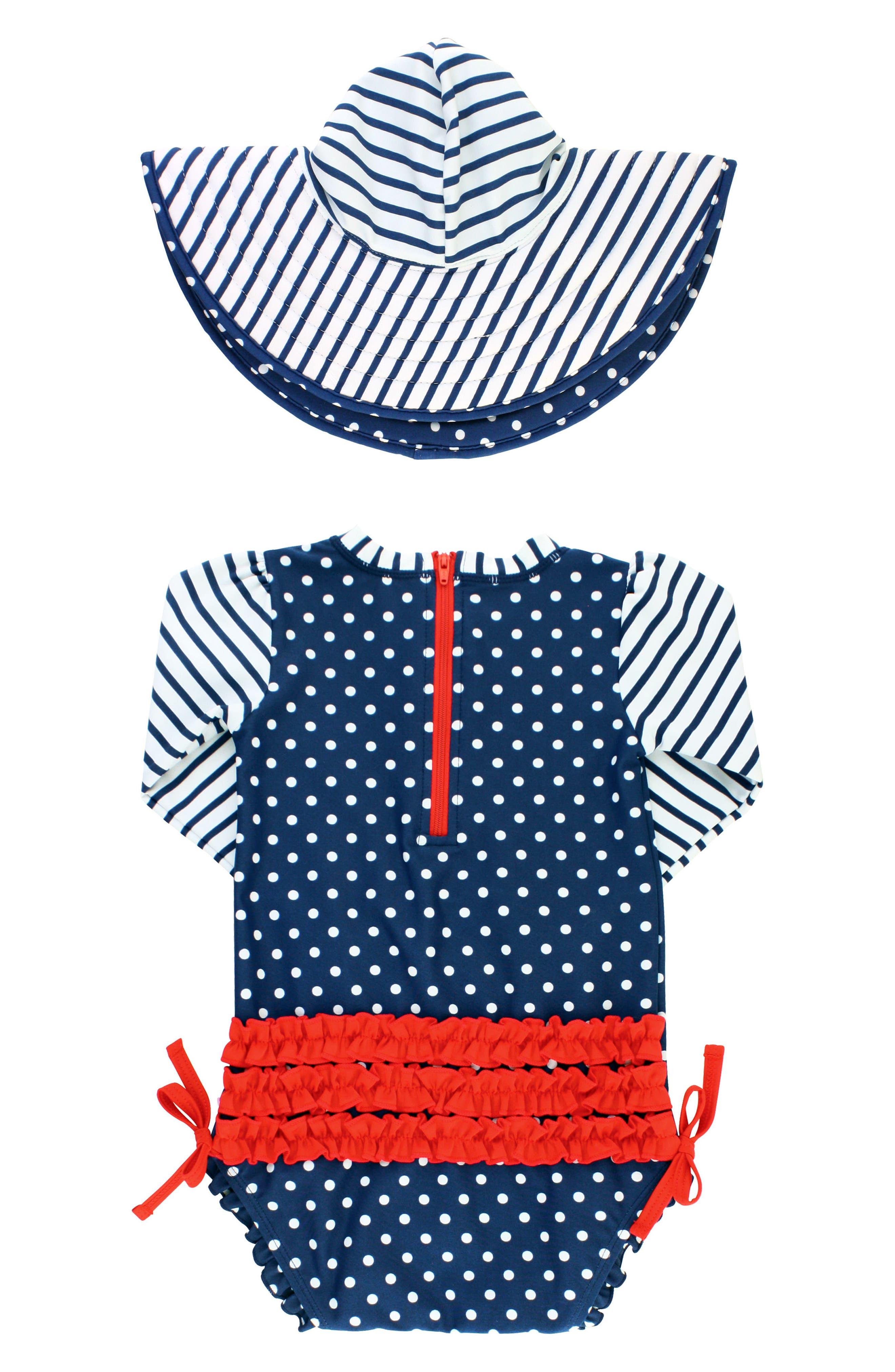 Polka Dot One-Piece Rashguard Swimsuit & Sun Hat Set,                             Alternate thumbnail 2, color,                             Navy