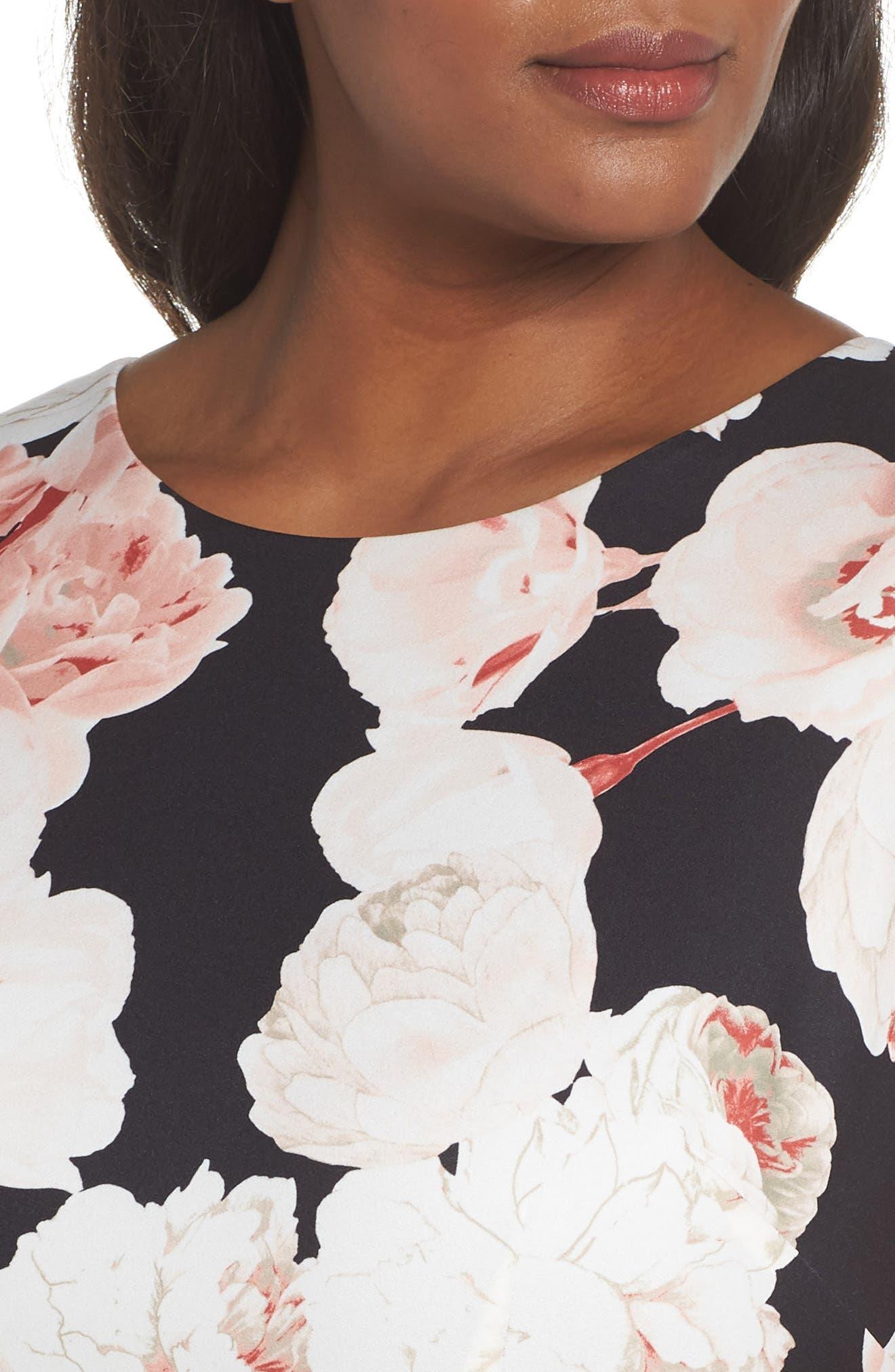 Floral A-Line Dress,                             Alternate thumbnail 4, color,                             Pink/ Black Multi