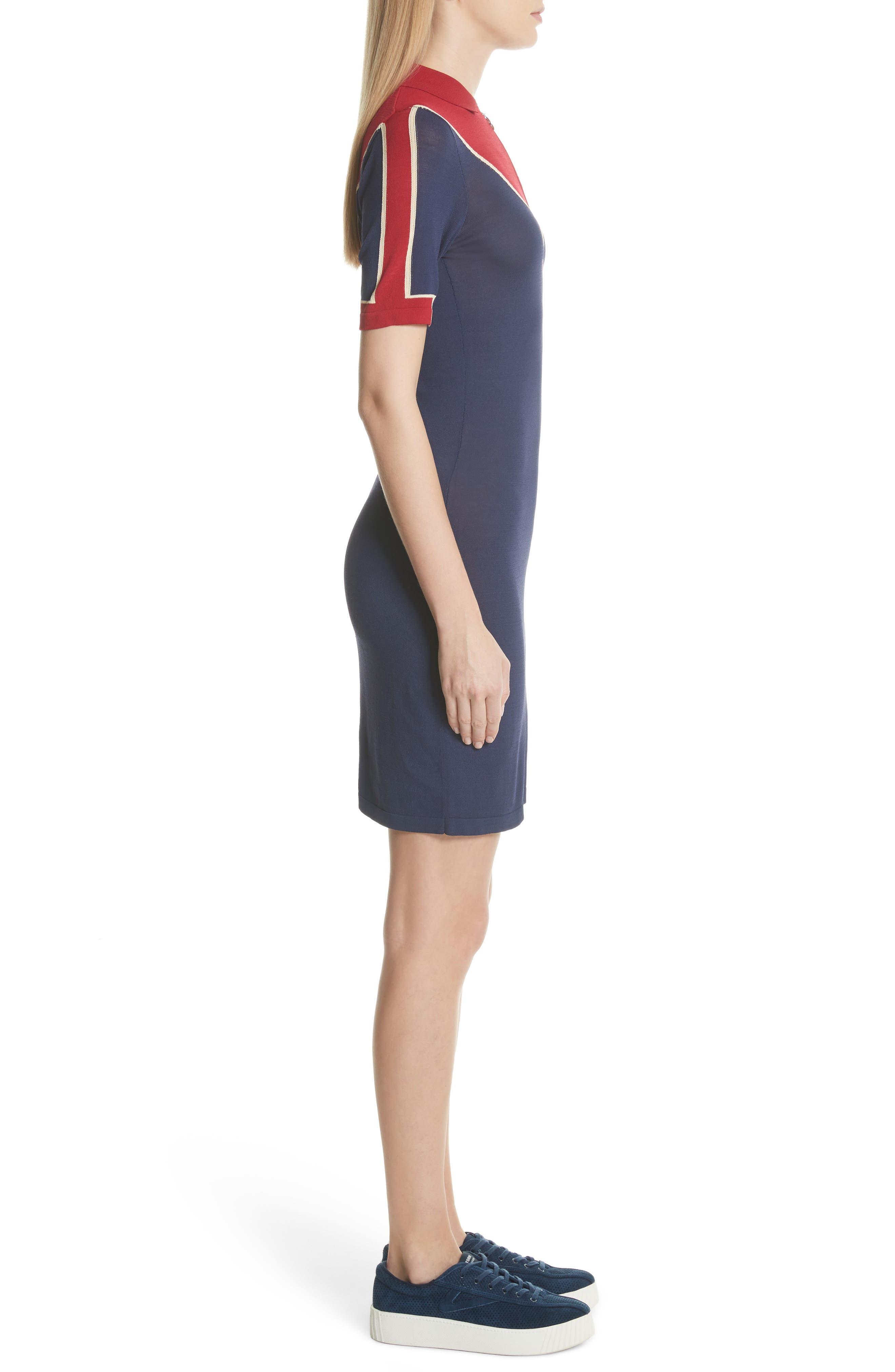 Chevron Knit Dress,                             Alternate thumbnail 3, color,                             Navy