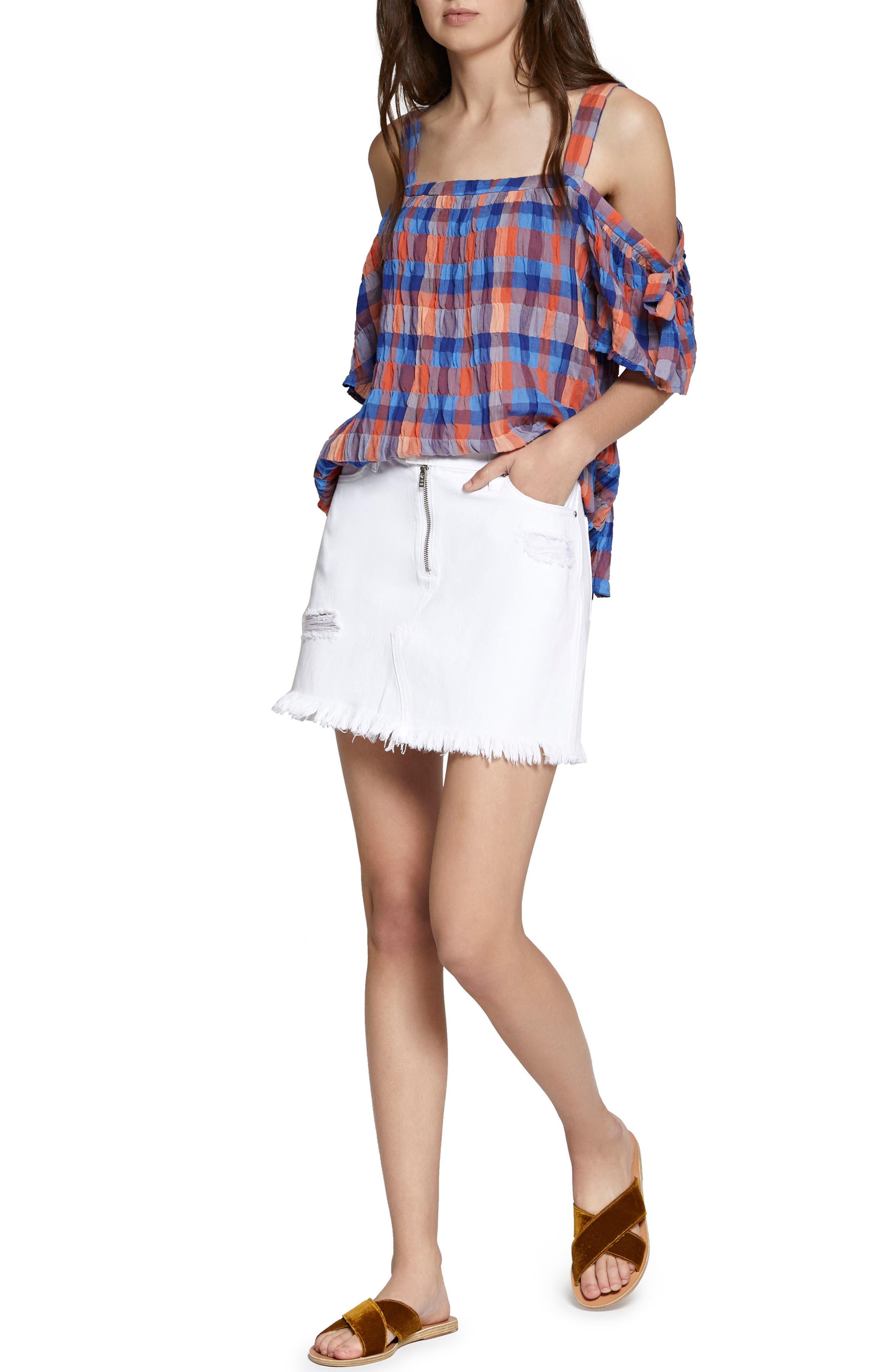Ripped Denim Skirt,                             Alternate thumbnail 3, color,                             White