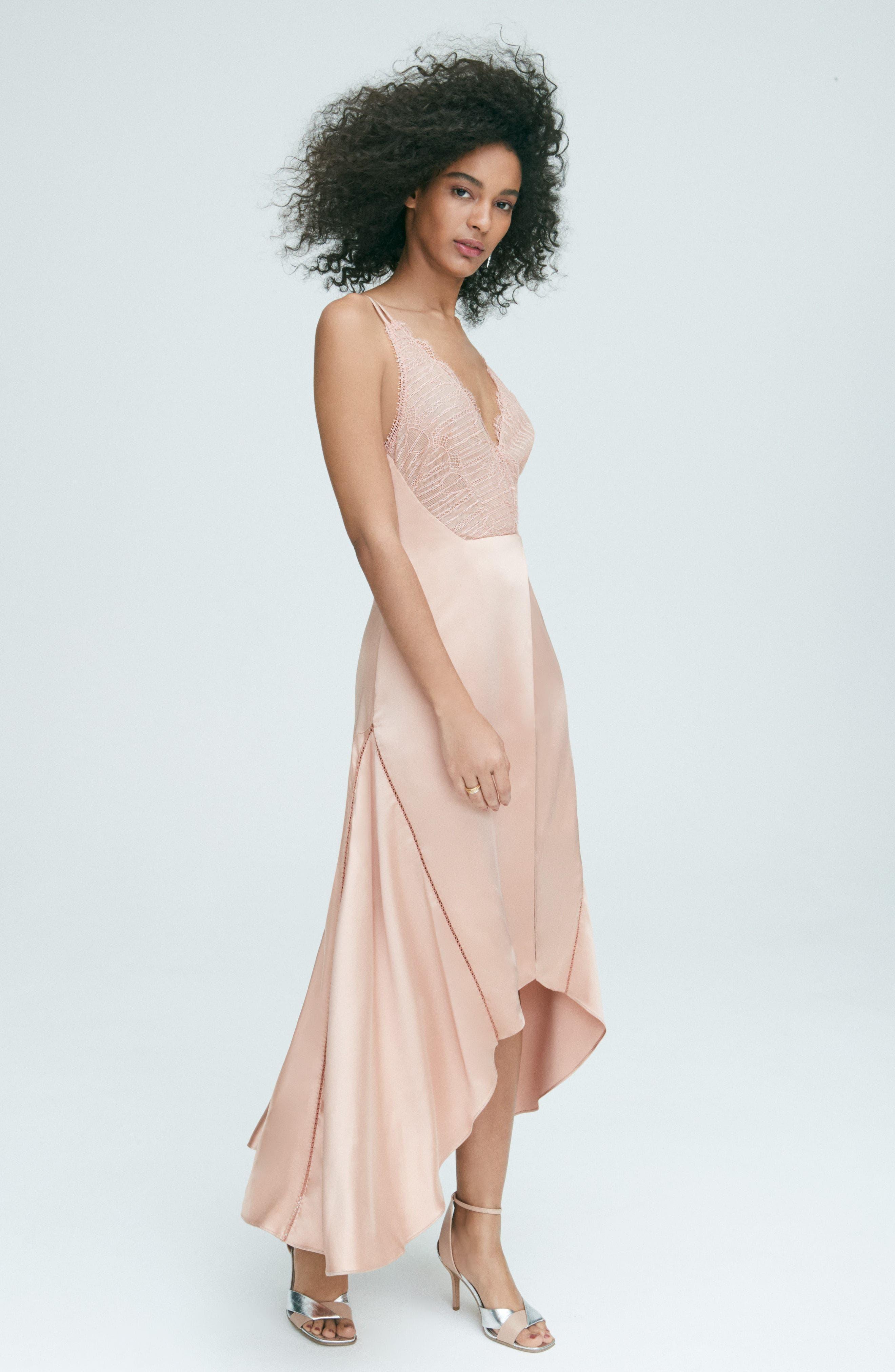 Mixed Trim Satin Handkerchief Dress,                             Alternate thumbnail 2, color,                             Bronze